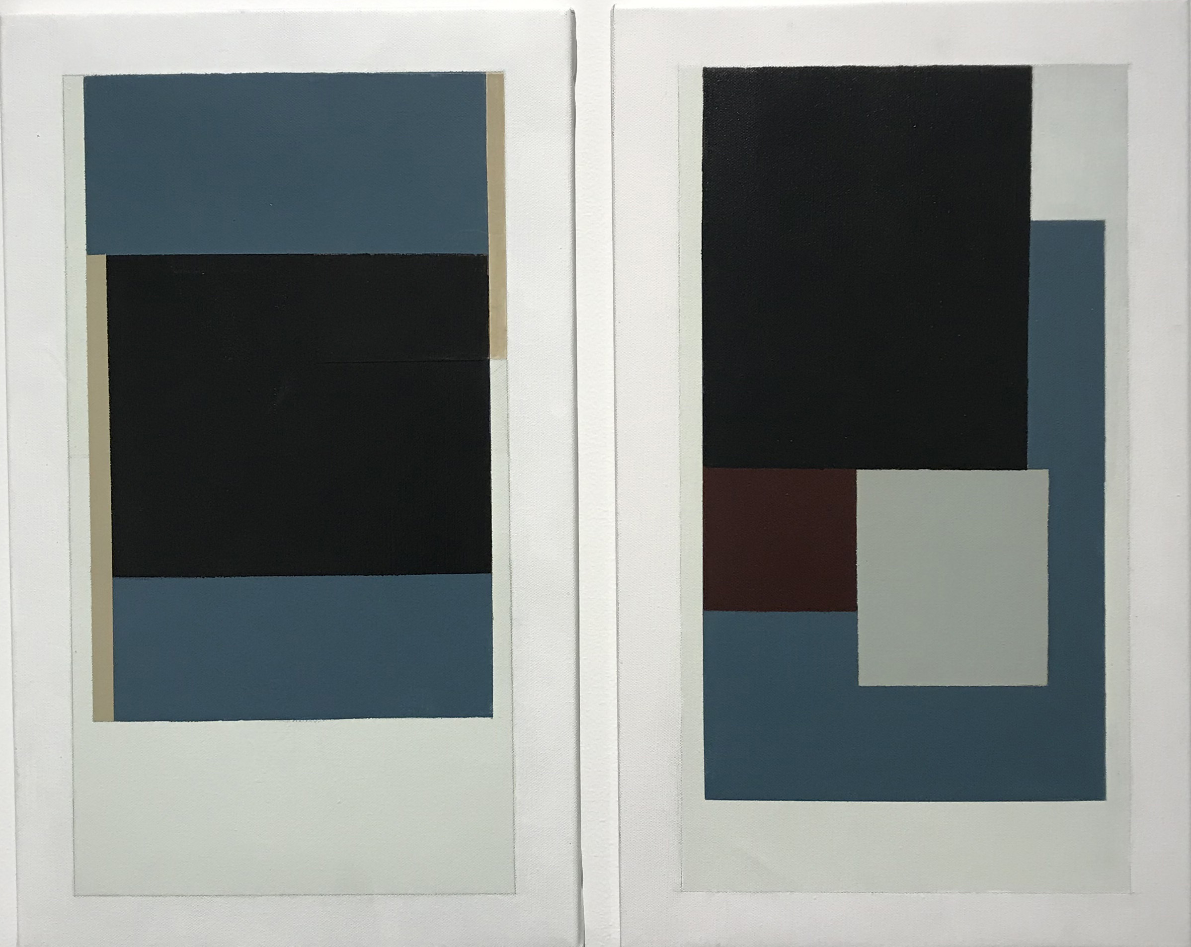 untitled  (LK18.013), 2016 acrylic on canvas 19 3/4 x 11 3/4 inches, each panel