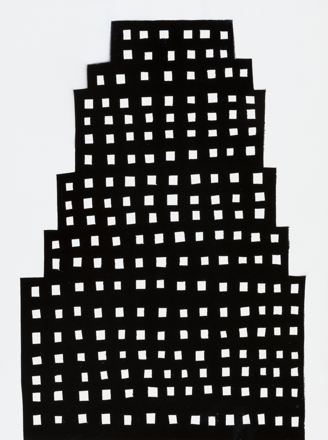 NIGHT BUILDING 13 , 2018 spray paint on panel 24 x 18 inches