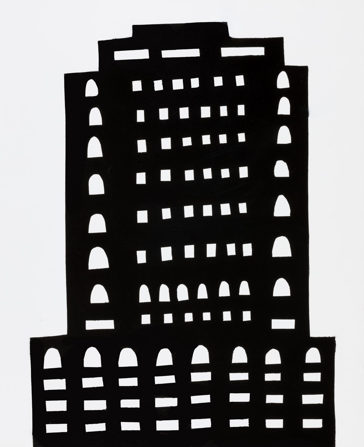 NIGHT BUILDING 14 , 2018 spray paint on panel 30 x 24 inches