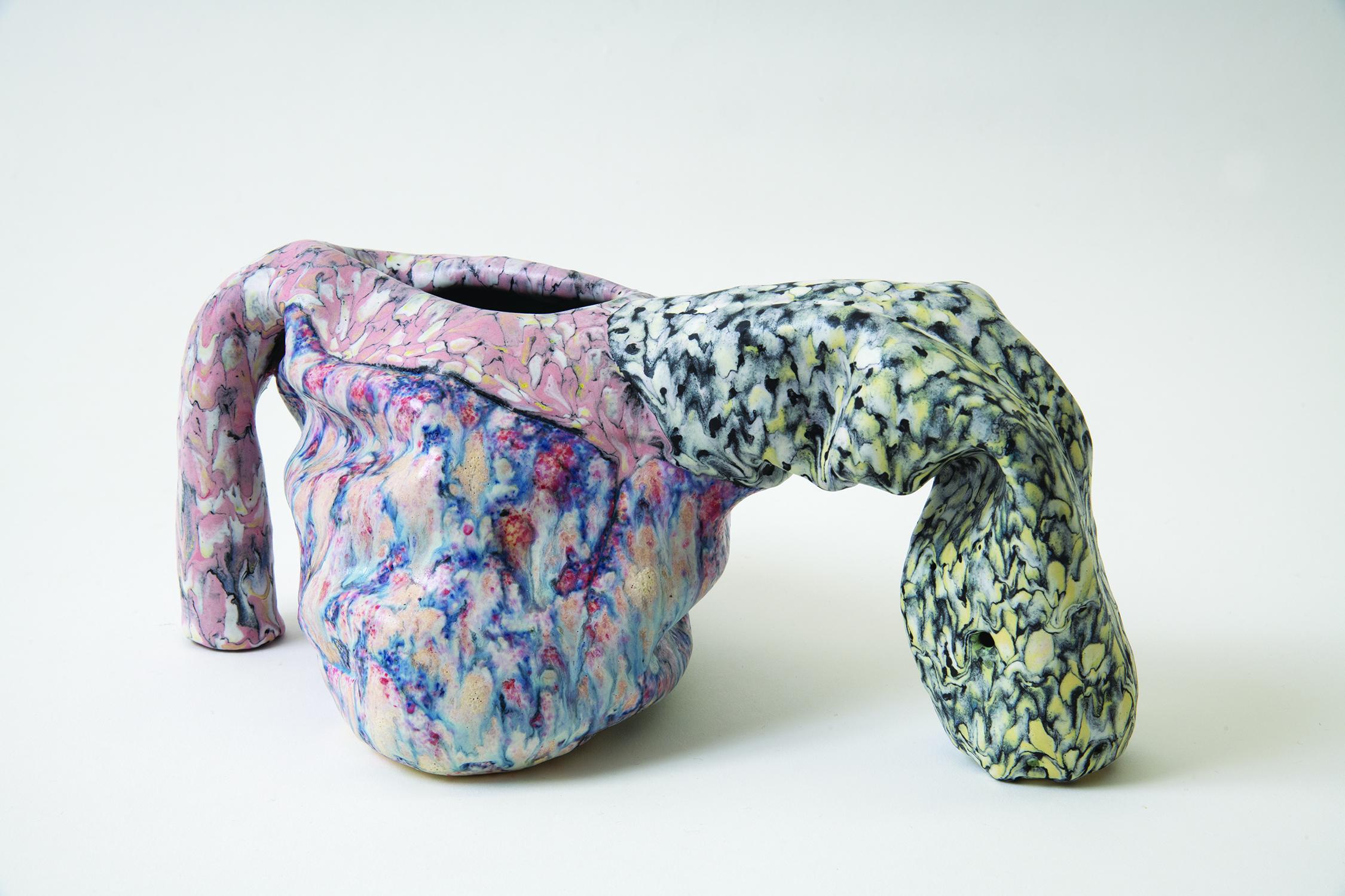 on a limb , 2018 glazed ceramic 6 x 12 x 8.5 inches
