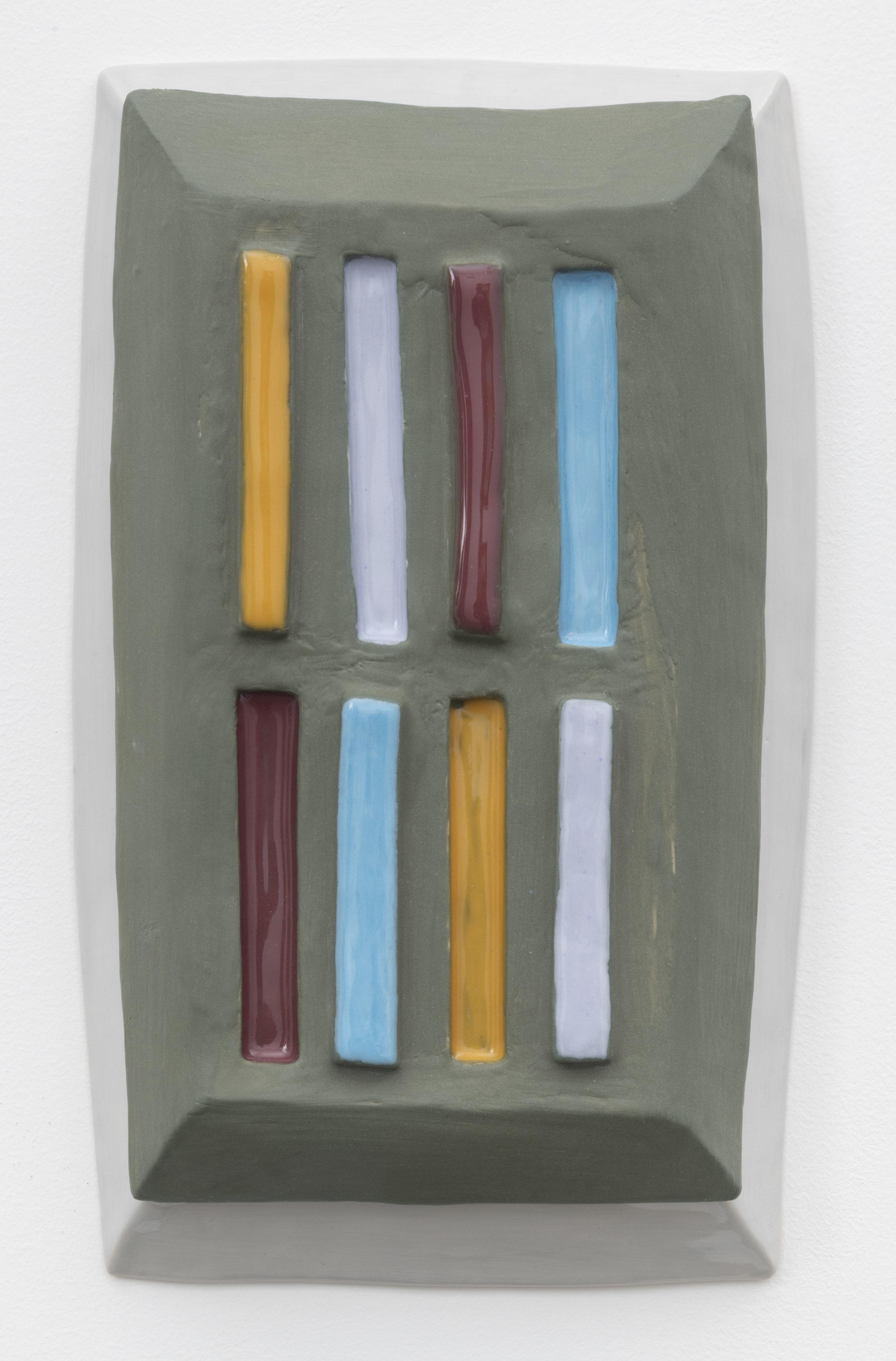 slat , 2018  glazed ceramic 12 x 7 inches