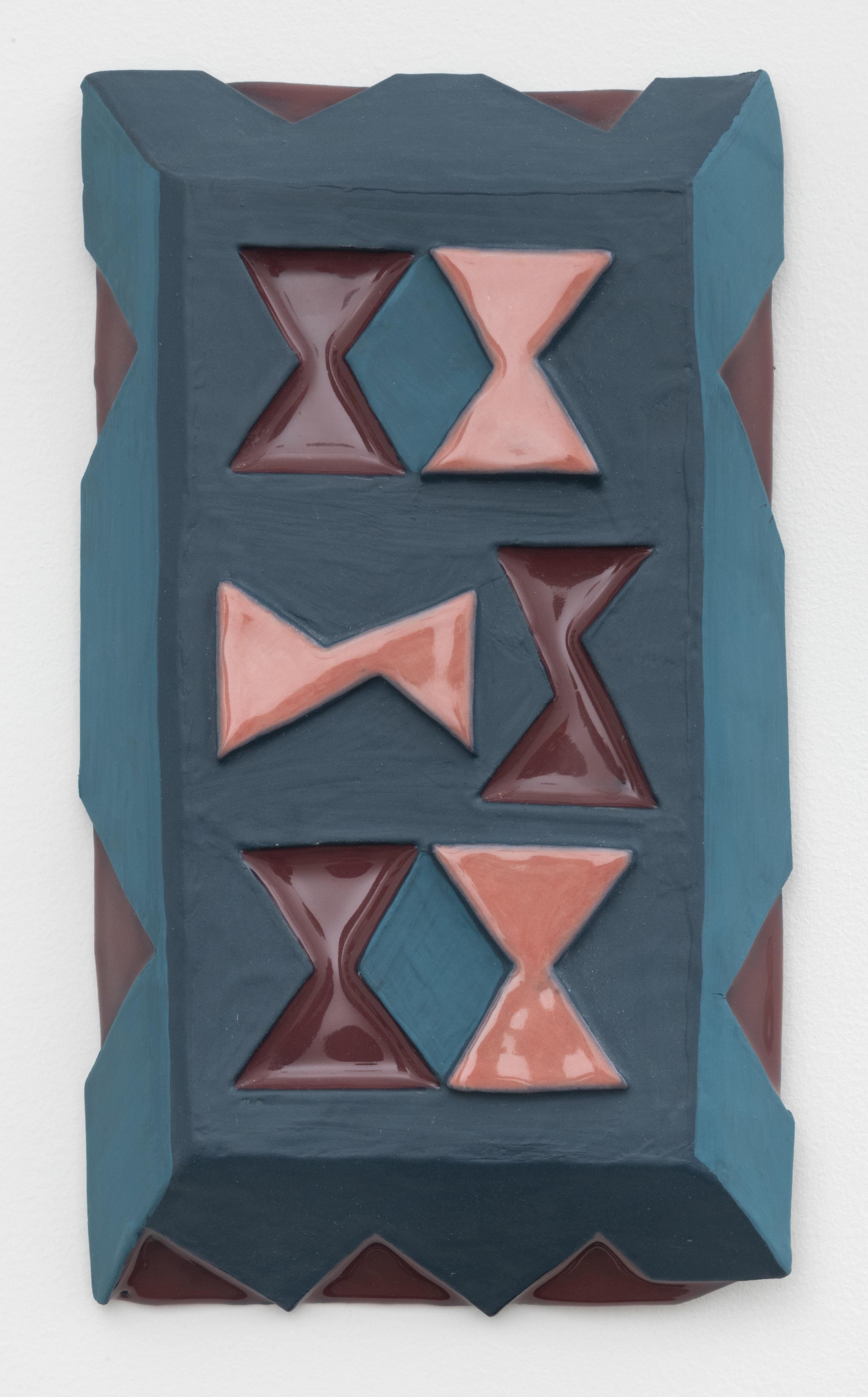tumble , 2019  paint on glazed ceramic  12 x 7 inches