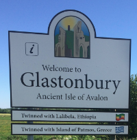 The Welcome to Glastonbury Sign!