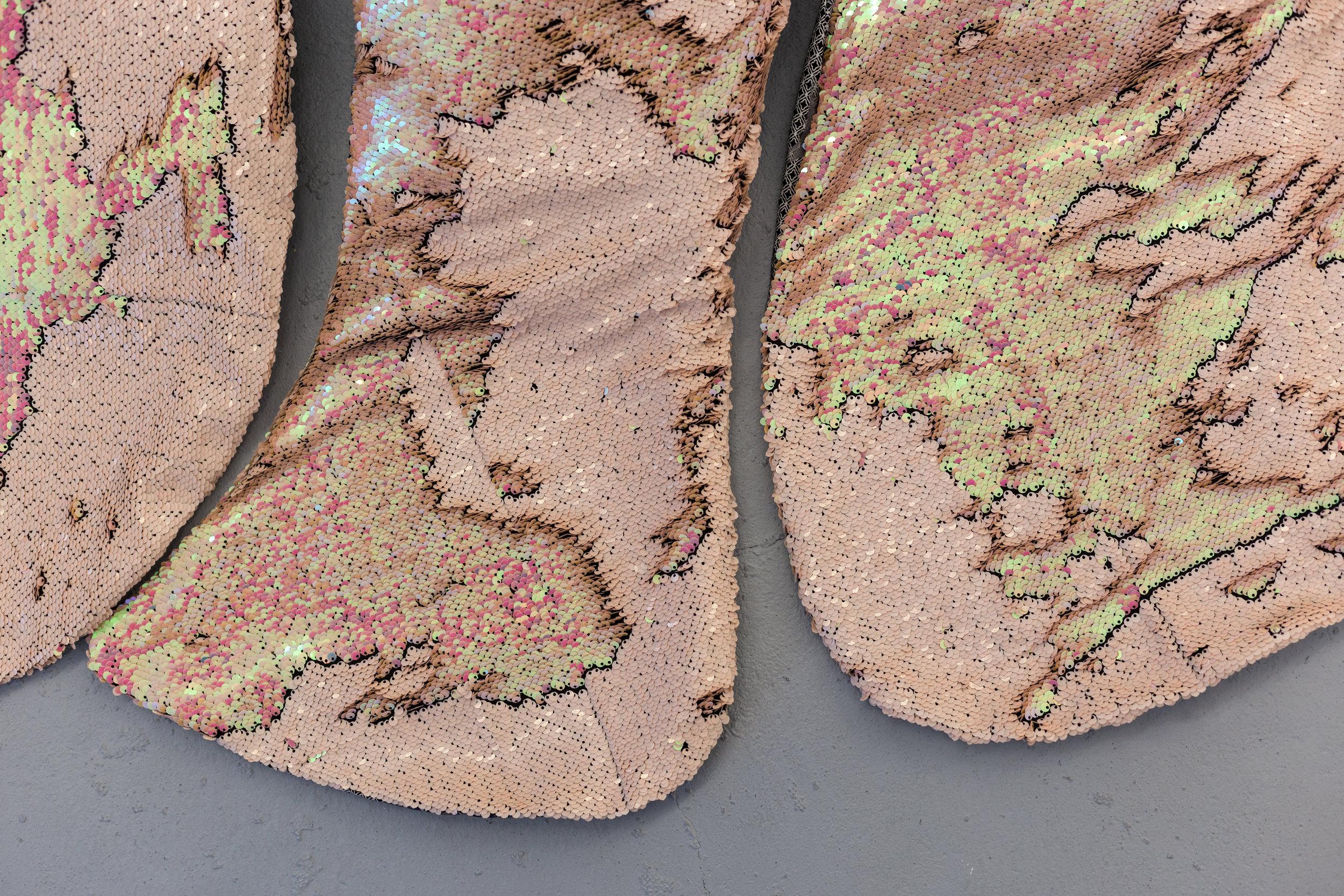 Donatella Bernardi,  Carpet Pond  (detail), 2017, digital printed fabric, shaped canvas, 175 x 175 cm  Photo: Kilian Bannwart