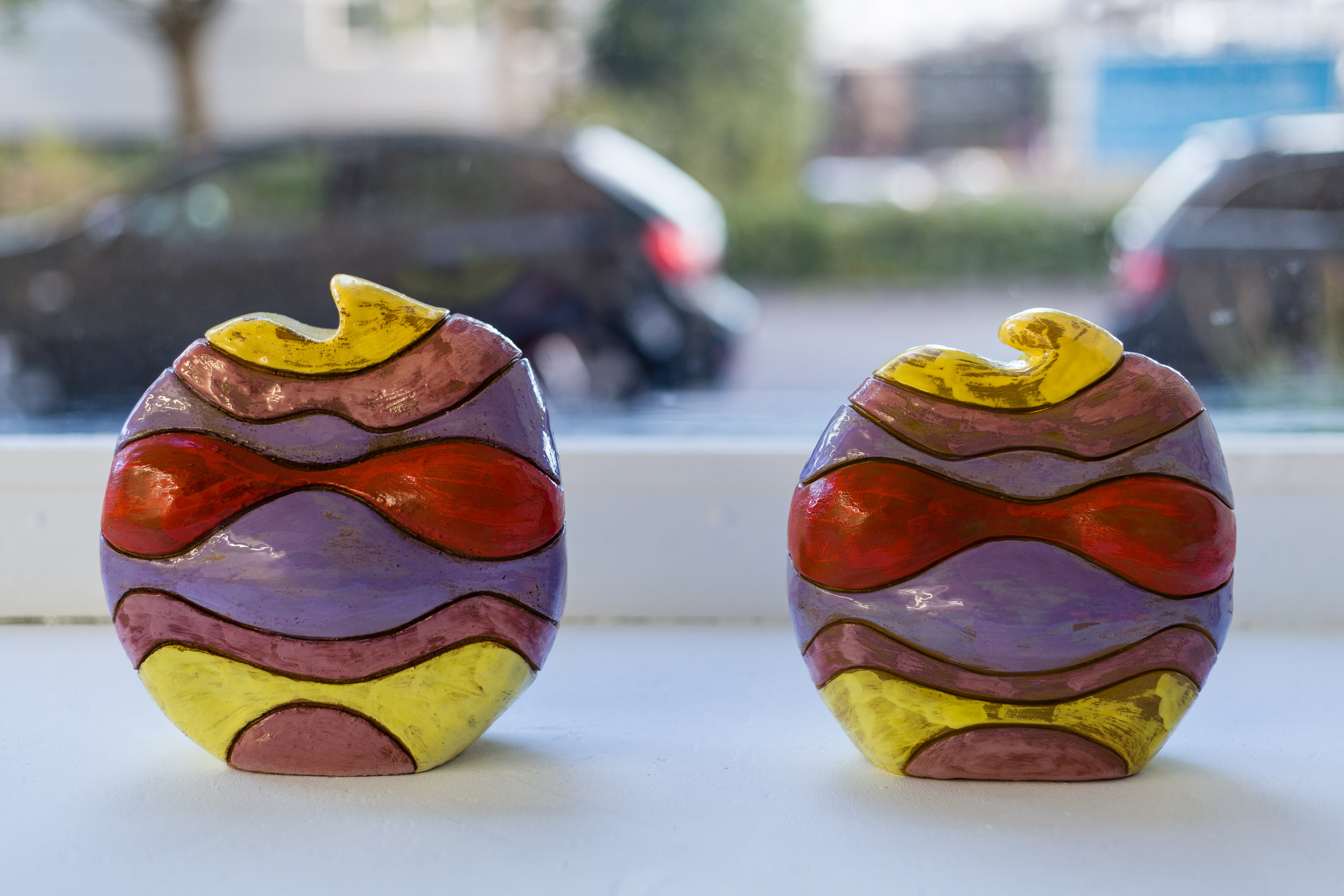 Donatella Bernardi,  Almost Ninja Turtles I-IV,  2017,clay with engobe and transparent glaze, 20 x 18 x 14 cm (each) Photo: Kilian Bannwart