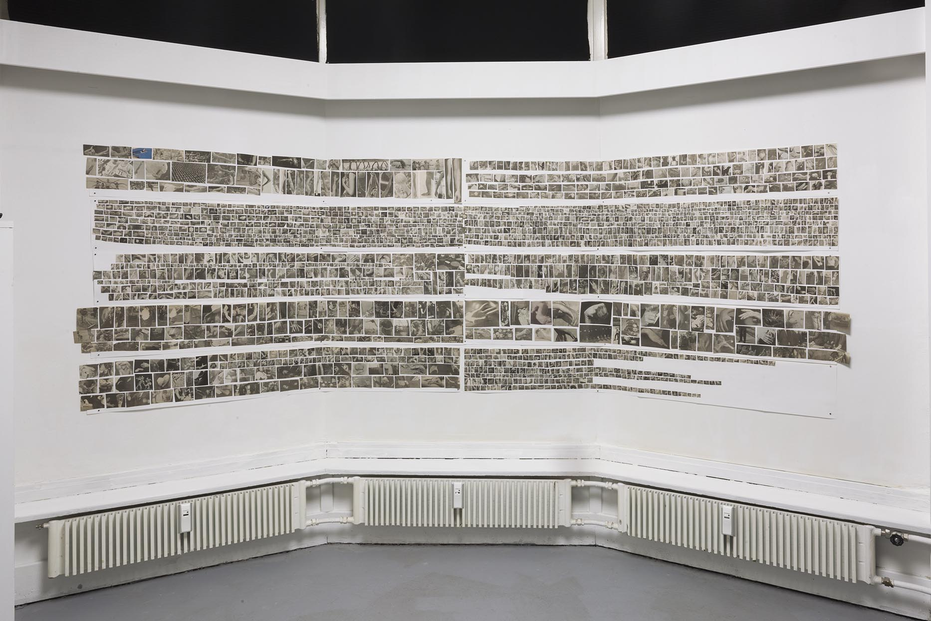 Hans Witschi,  THE HANDBOOK 2  (a selection of 10 strips out of 169 strips in a wooden box), 1997, mixed media, each ca. 24,4 x 177,8 cm Photo: Christoph Oeschger