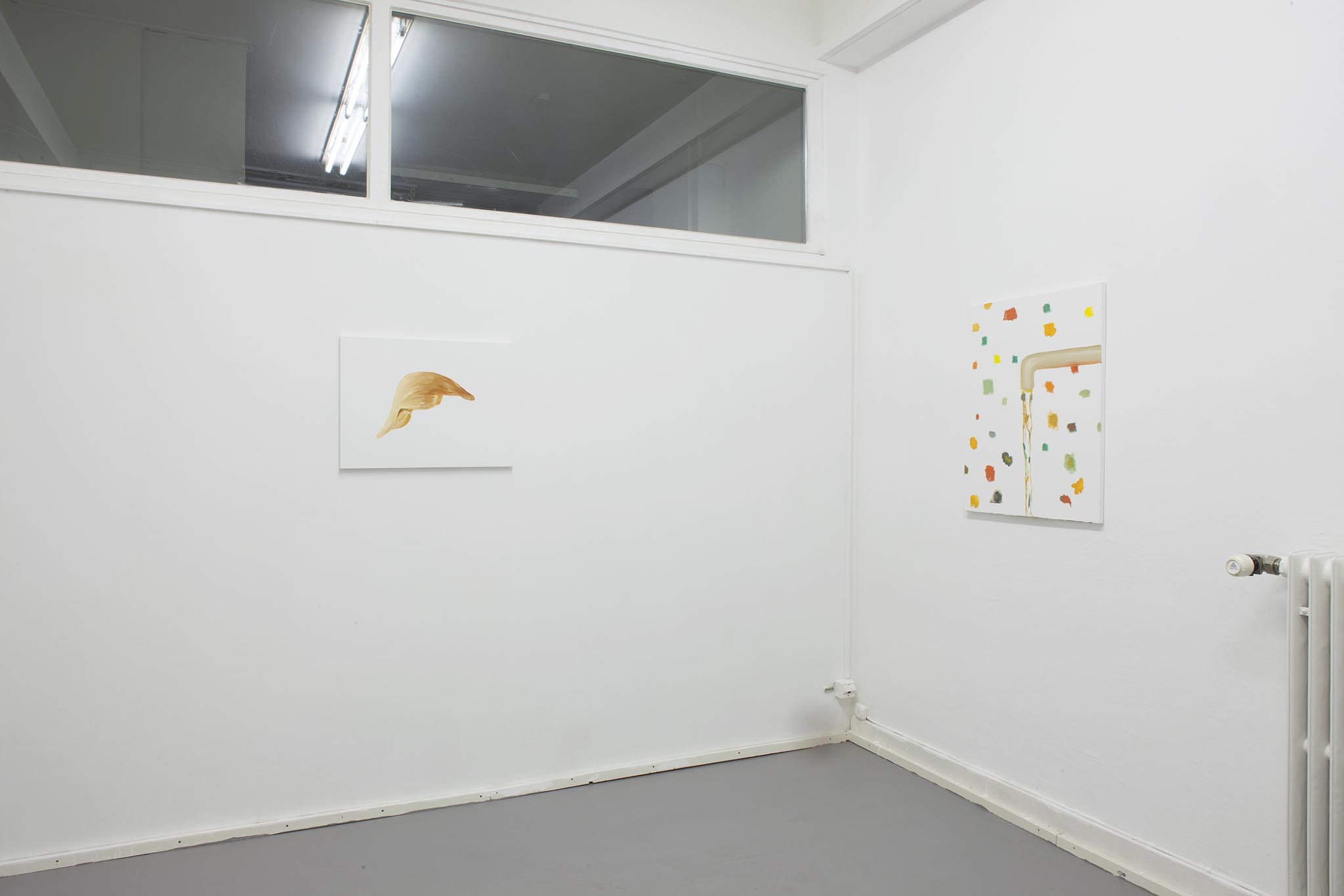 Left: Hans Witschi,  Untitled / Study POTUS (3) , 2017, oil on primed cotton, 45,7 x 61 cm Right: Hans Witschi,  Untitled (Water) , 2017, oil on primed cotton, 76 x 61 cm Photo: Christoph Oeschger