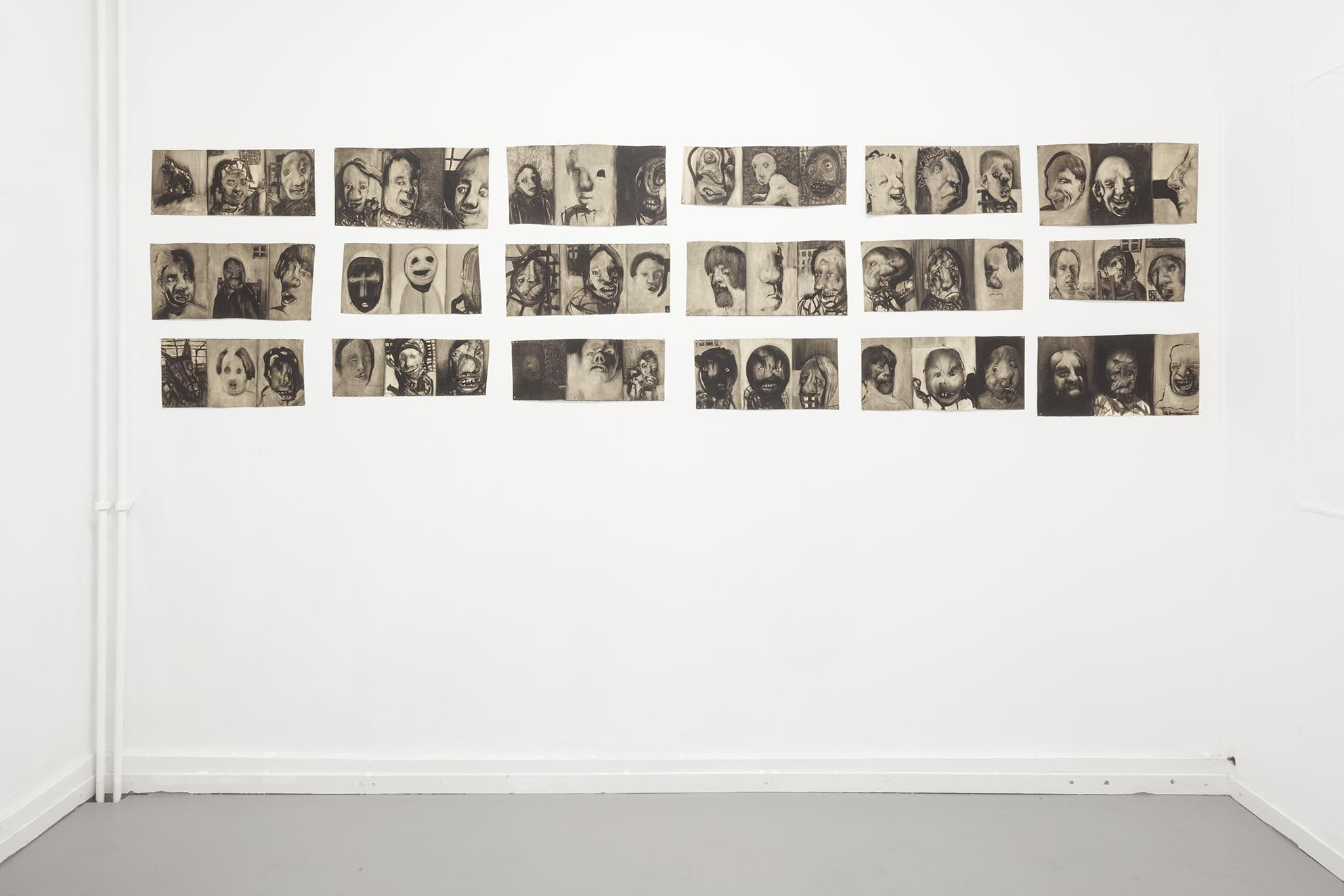 Hans Witschi,  Human Being: Rough Draft, 54 Studies in Groups of Three , 1984, oil on primed canvas, ca. 100 x 310 cm Photo: Christoph Oeschger