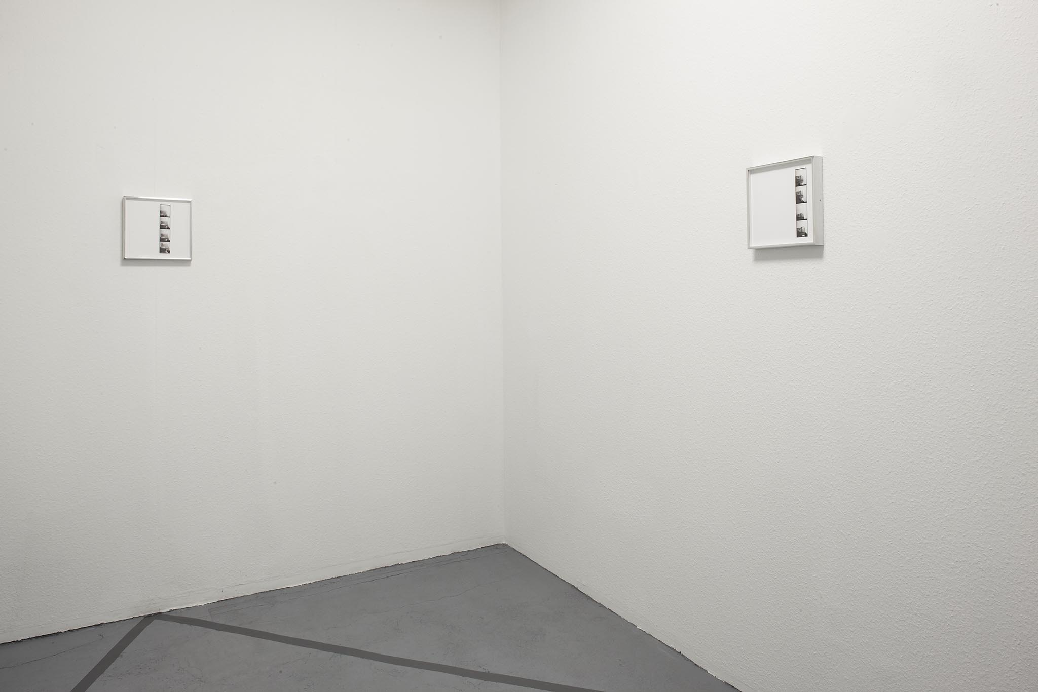 Vittorio Santoro,  Four Speakers' Corners, I , 2014, four photo booth stripes, each framed in a welded aluminum frame (25x25 cm), silver-grey adhesive tape on floor. Dimensions vary with installation