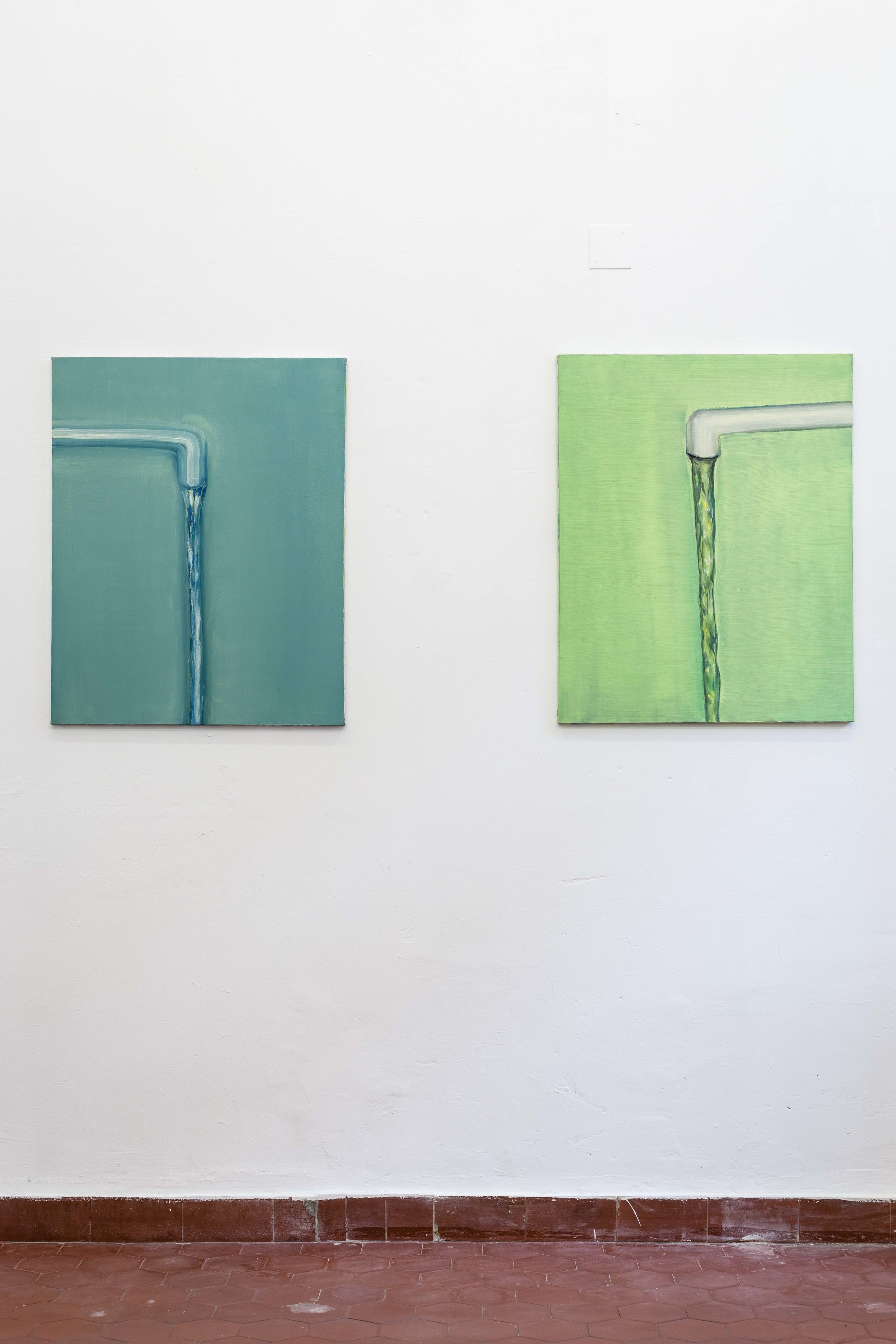 Left: Hans Witschi,  Untitled (Water) , 2000, oil on primed cotton, 76 x 61 cm; Hans Witschi,  Untitled (Water) , 2000, oil on primed cotton, 76 x 61 cm  Photo: Kilian Bannwart