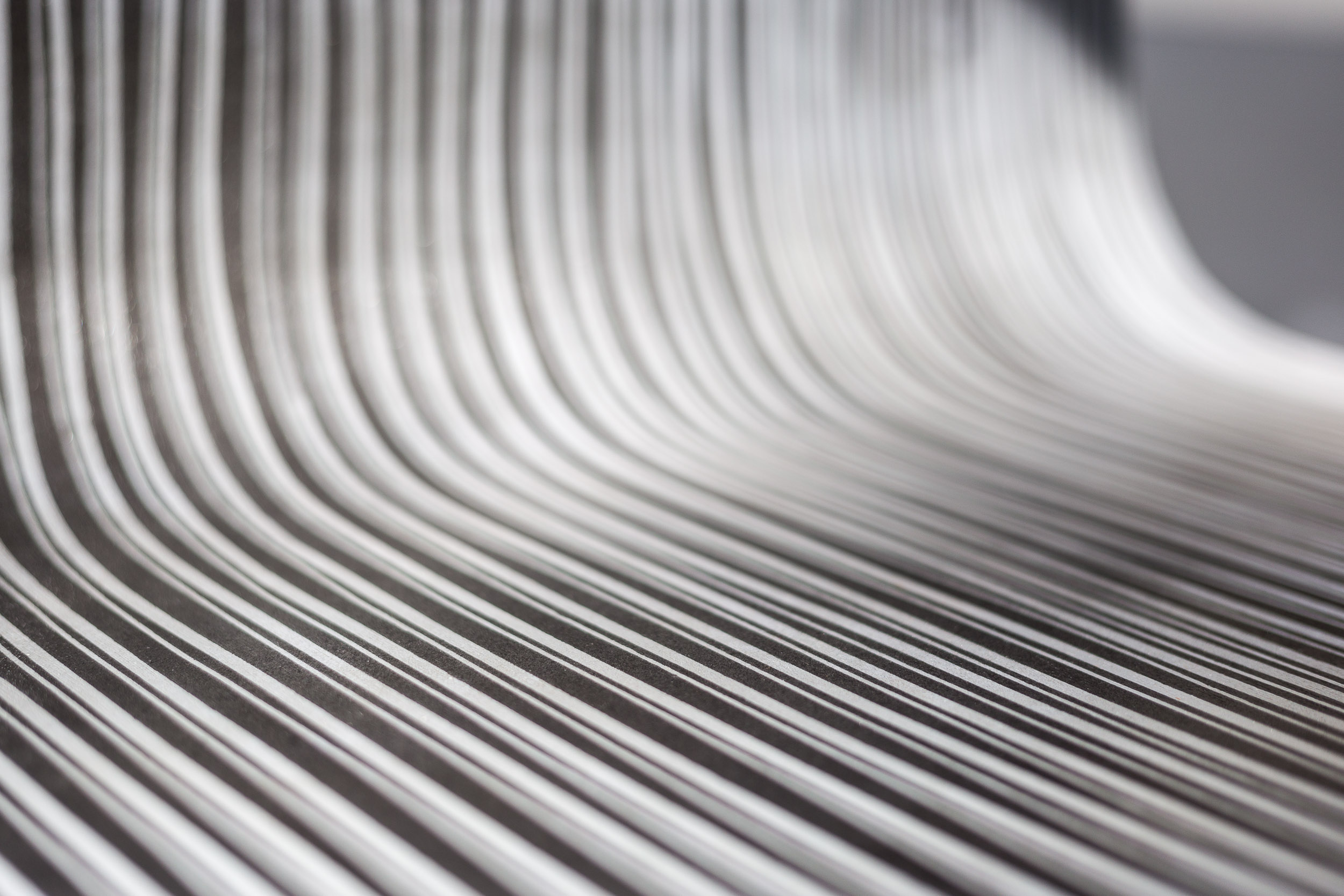 Fiona Banner,  Pinstripe Chair  (detail), 2015, graphite, vinyl, plywood, chair base, 148 x 52 x 50 cm  Photo: Kilian Bannwart