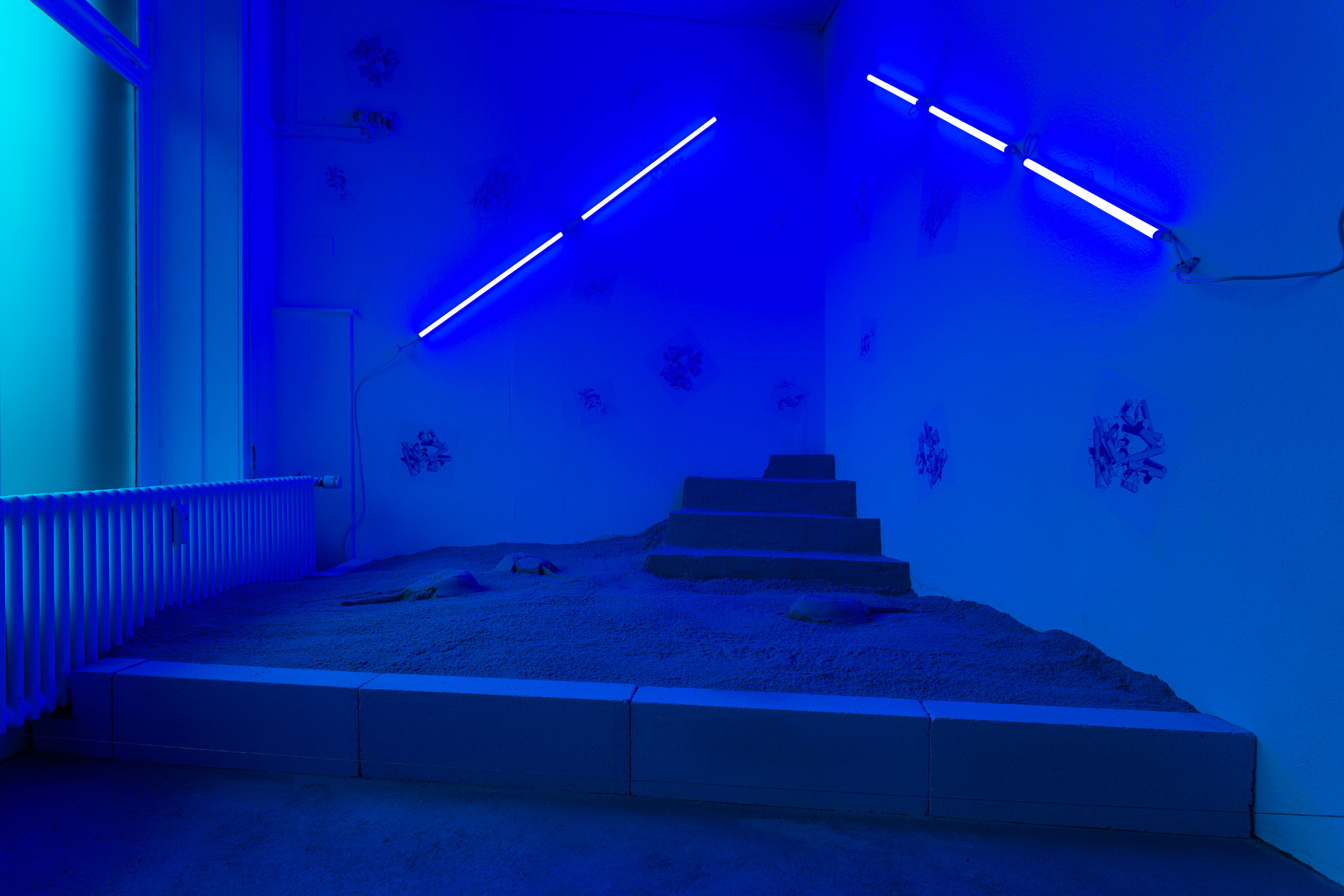 Nadim Abbas,  BLUE NOON , installation view, Last Tango Photo: Kilian Bannwart