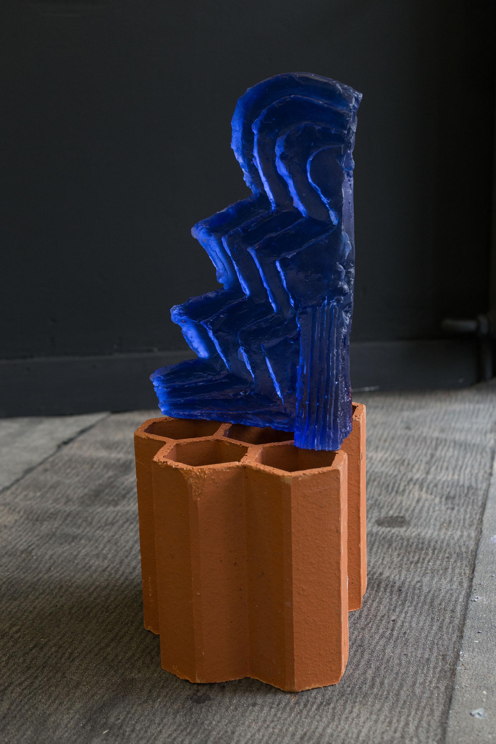 Matyas Chochola,    Dylan (Blue)   ,   2017  ,   Glass, 75 × 45 × 11 cm   Photo: Kilian Bannwart