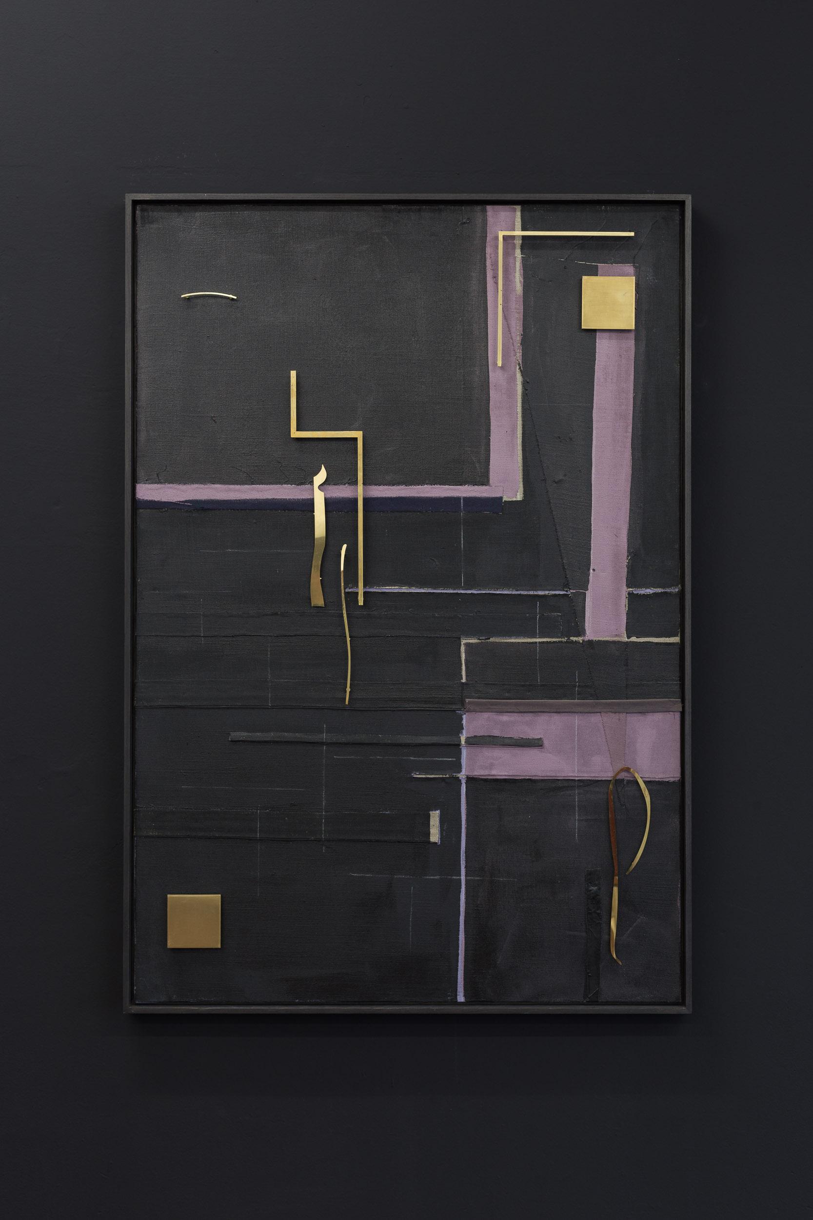Kirstine Roepstorff,  Black Moon Timbre , 2017,   Collage: brass, fabric  , 96.6 x 140 cm Photo: Kilian Bannwart