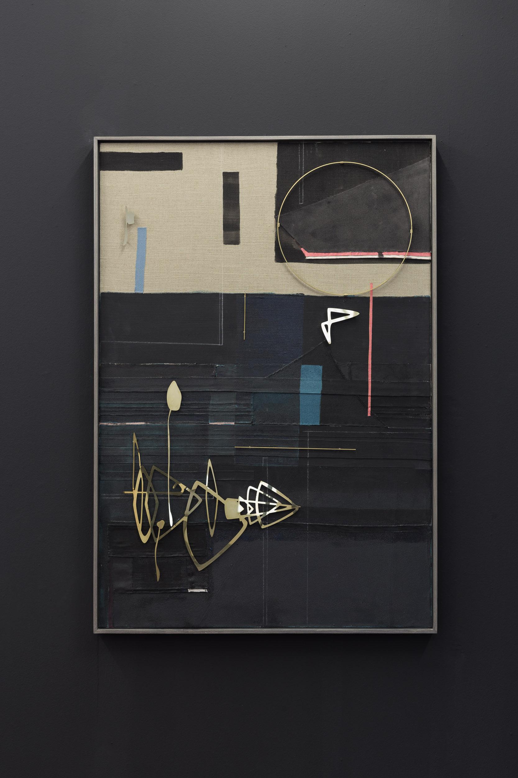 Kirstine Roepstorff,  Moon Rolling Horizon , 2017,   Collage: brass, fabric  , 96 x 139 cm   Photo: Kilian Bannwart