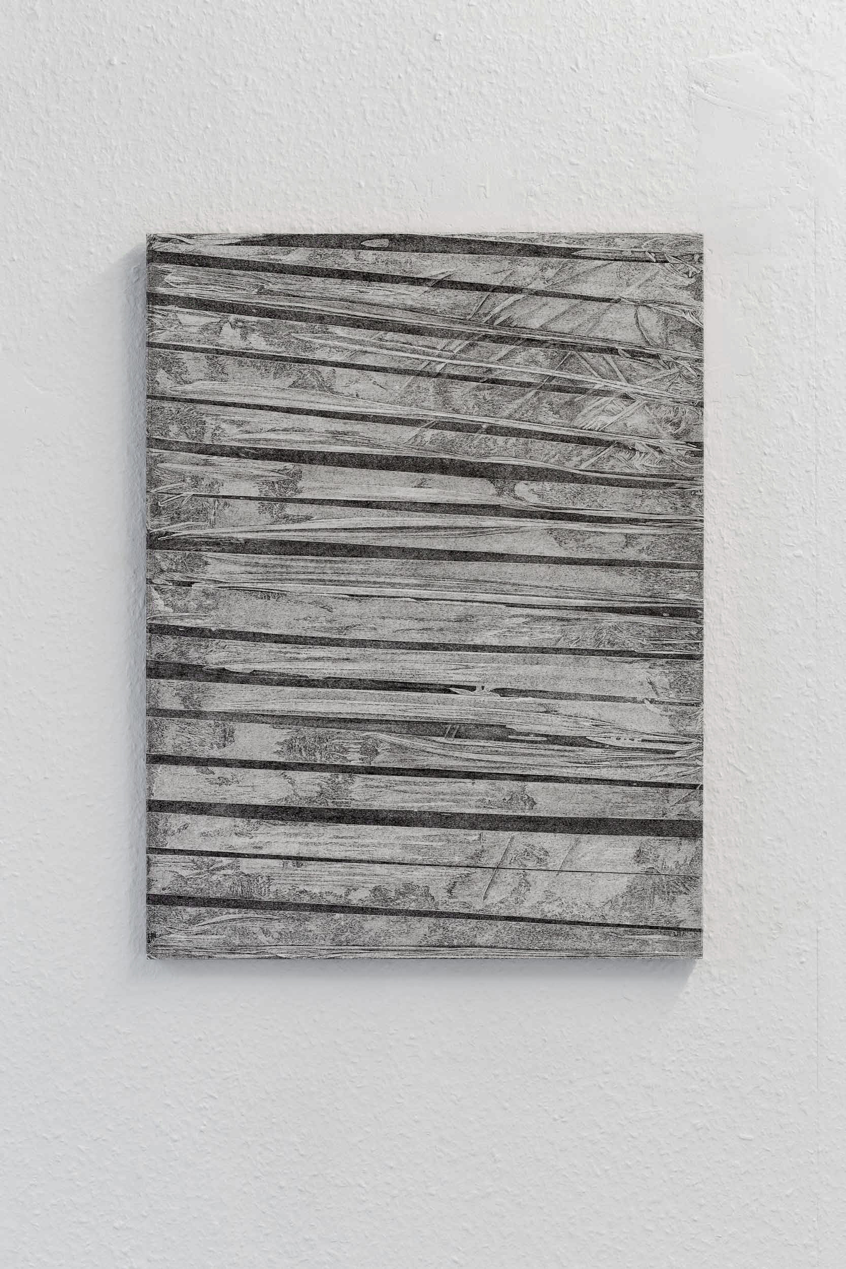Kong Chun Hei, Stripes , 2017,Ink on paper mounted on aluminium board and wooden frame, 47.1 x 61.4 x 2cm