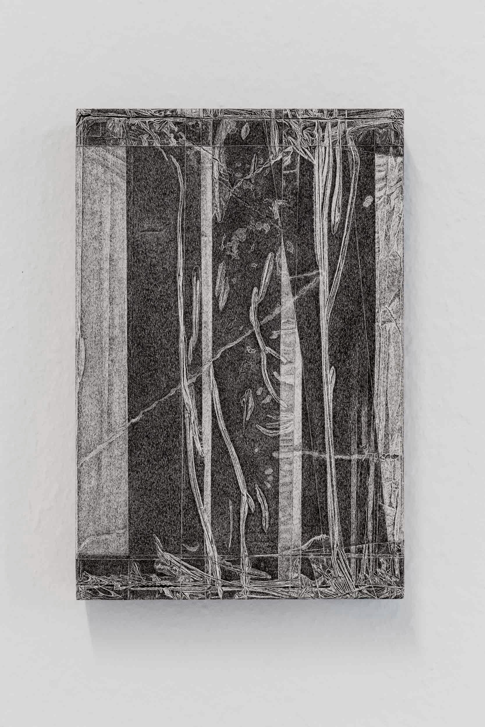 Kong Chun Hei, Parcel , 2018,Ink on paper mounted on wooden frame, 20 x 30 x 5cm