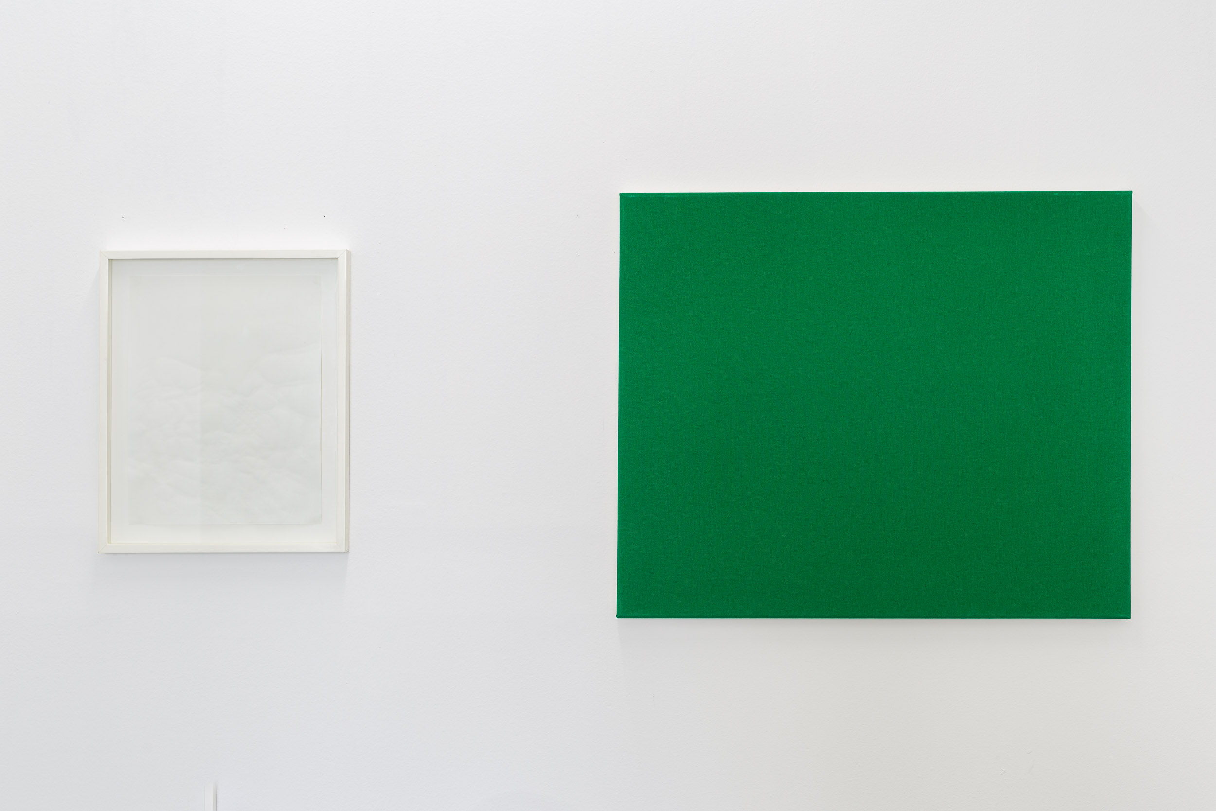 Left: Bruno Jakob,  Philosophy Escaped (Invisible Painting), The Mutilated Meaning , 1999, Zurich snow water on primed green canvas, 50 x 60 cm Right: Bruno Jakob,  Philosophy Escaped (Invisible Painting), The Mutilated Meaning , 1999, Zurich snow water on primed green canvas, 50 x 60 cm   Photo: Kilian Bannwart