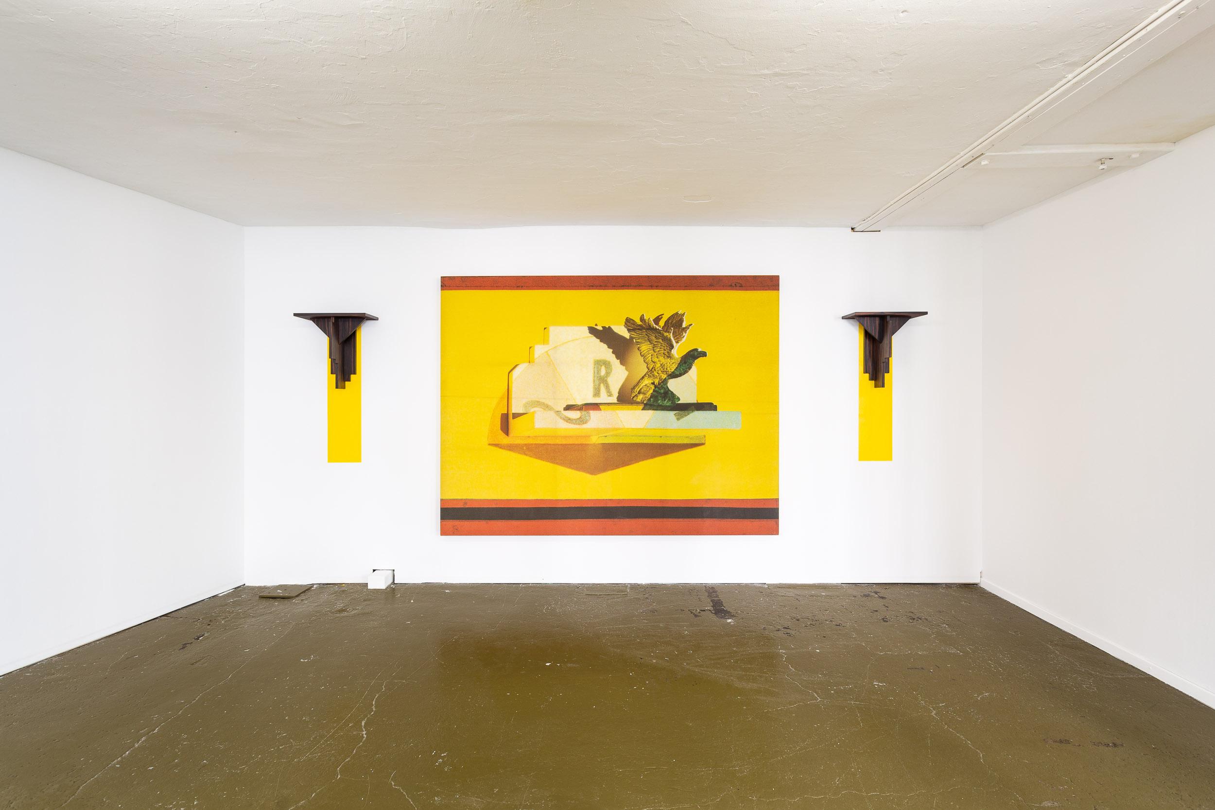 Silvie and Chérif Defraoui,  Bilderstreit (Lugar/Llano) , 1987, scanachrome on canvas, 2 wooden con- soles and wall painting, 188 x 245 cm   Photo: Kilian Bannwart