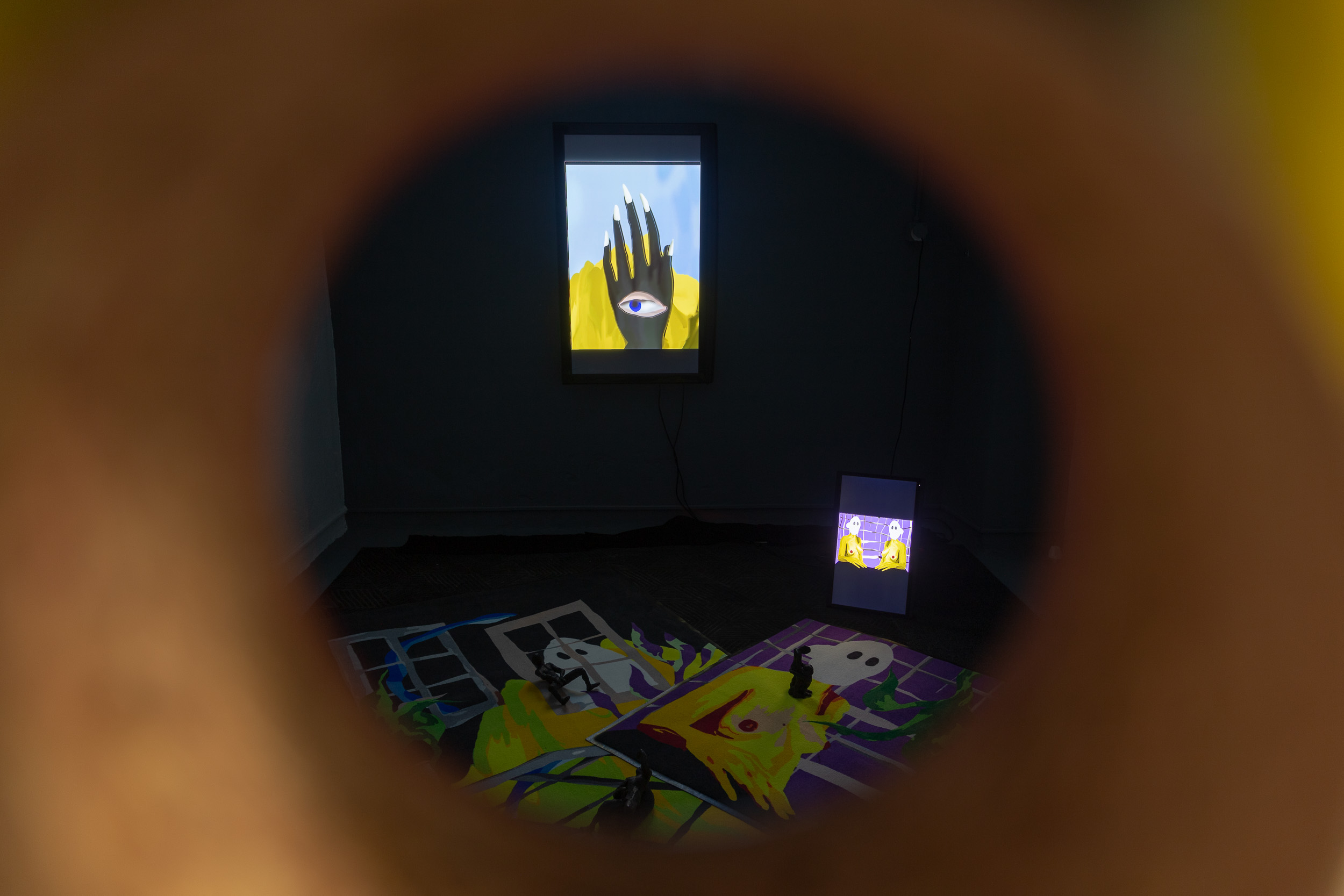 Peephole installation with videos, carpets and ceramic sculptures by Dieter Hall & Xénia Lucie Laffely, installation view  Photo: Kilian Bannwart