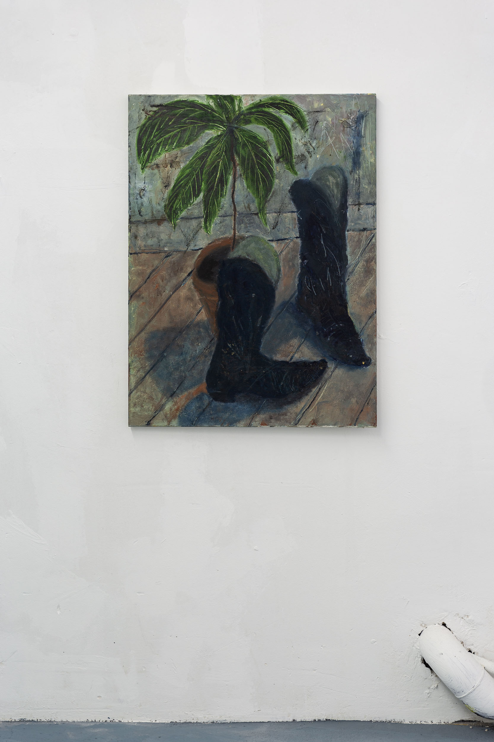 Dieter Hall,  My avocado, my boots,  1989, Oil on canvas, 80 x 60 cm  Photo: Kilian Bannwart