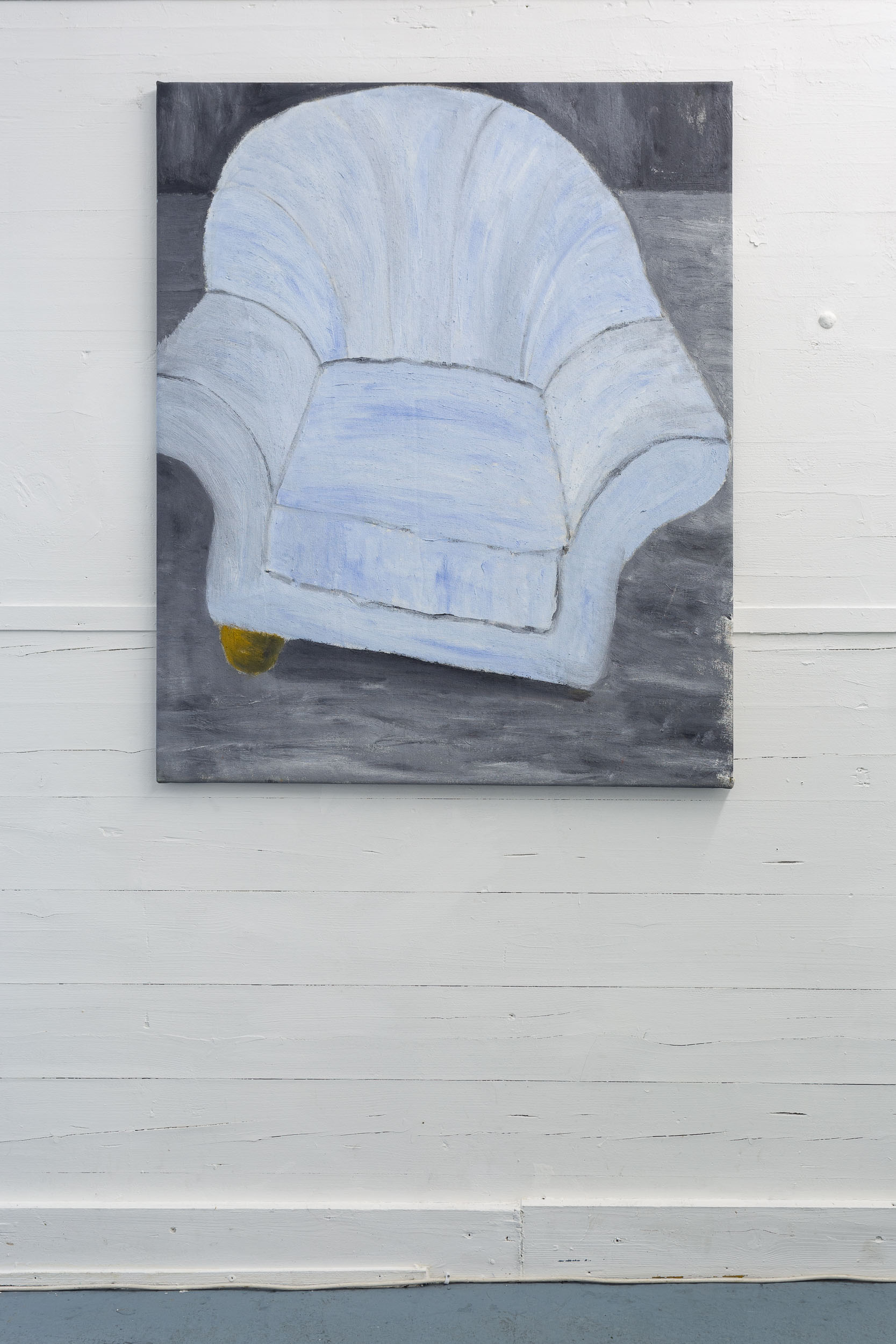 Dieter Hall,  Blue Armchair,  2015, Oil on canvas, 111 x 90 cm  Photo: Kilian Bannwart