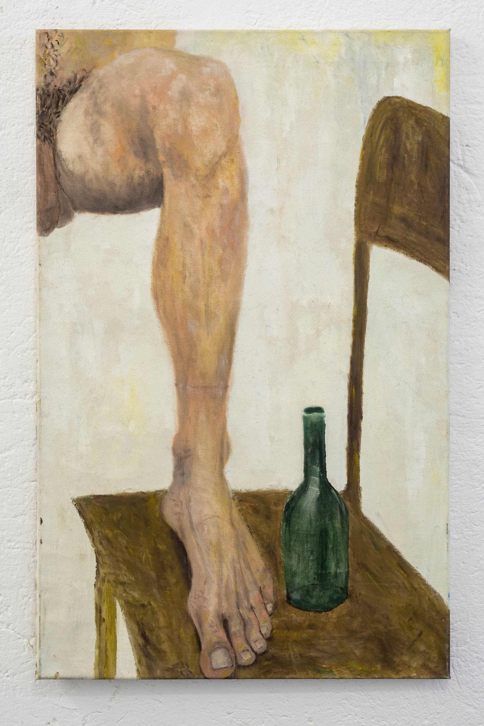 Dieter Hall,  Leg and beer bottle,  1992, Oil on canvas, 1992, 94 x 60 cm  Photo: Kilian Bannwart