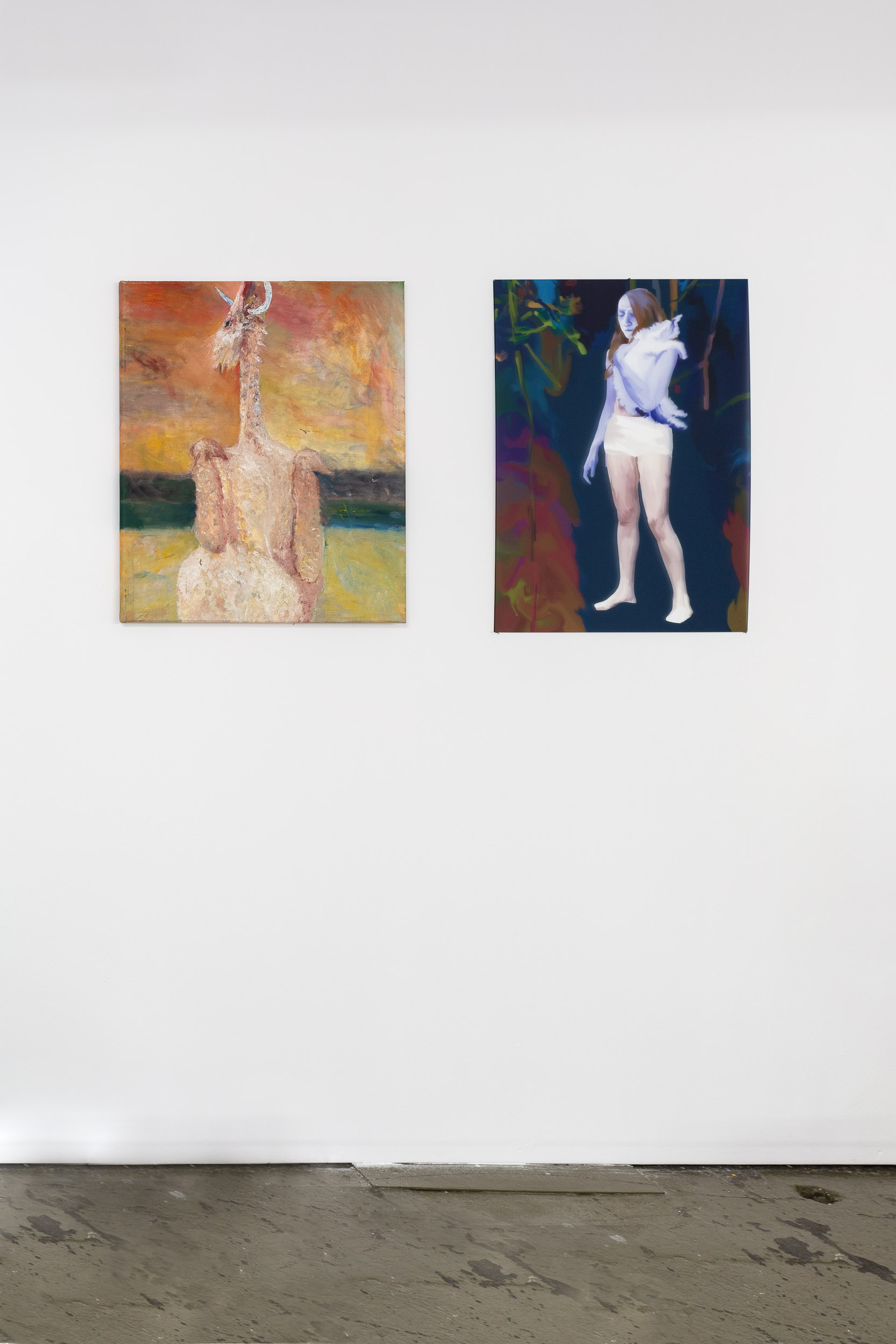 Left: Dieter Hall,  Chicken in Paris,  1993, Oil on canvas, 67.5 x 55 cm Right: Xénia Lucie Laffely,  Alone but not really,  2018, Acrylic print, 70 x 50 cm   Photo: Kilian Bannwart