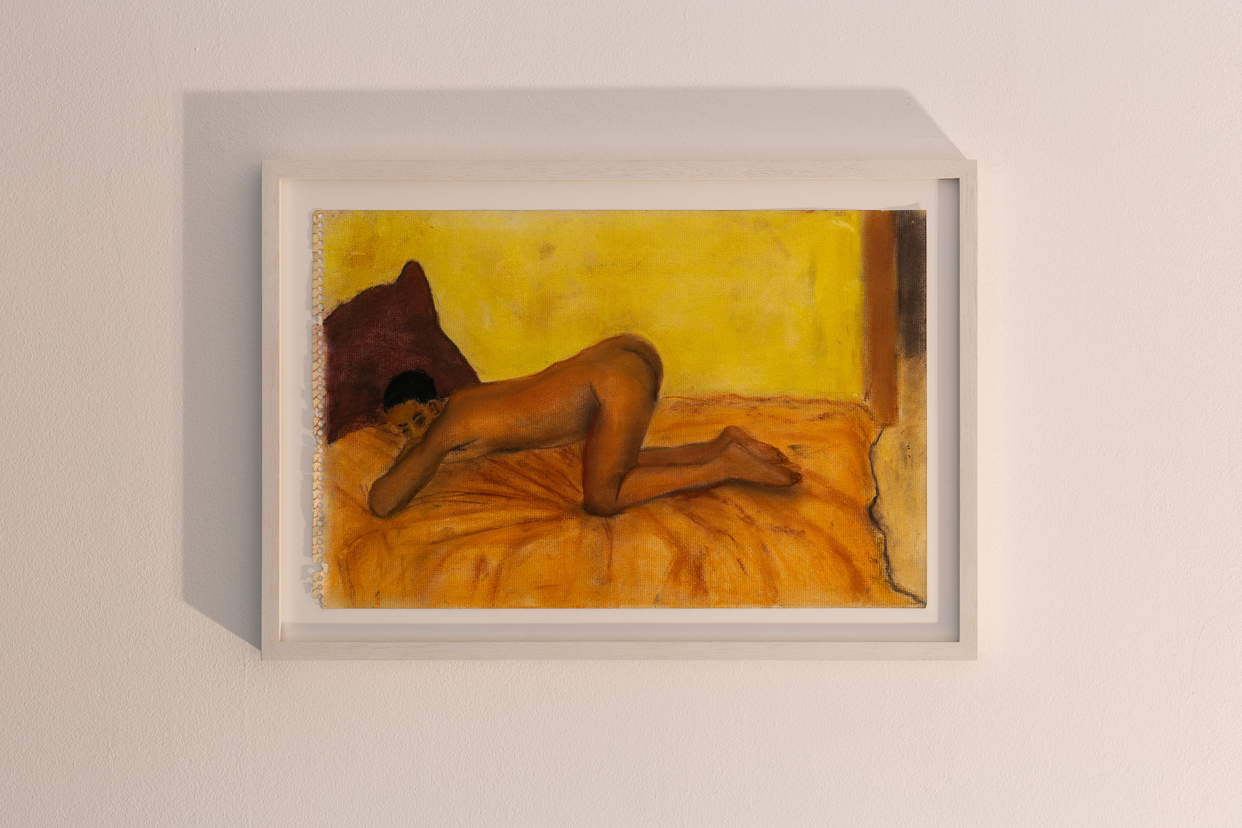 Dieter Hall,  Maroon Cushion,  1998, Pastel on paper, 28 x 42.5 cm / 35 x 50 cm (framed)  Photo: Kilian Bannwart