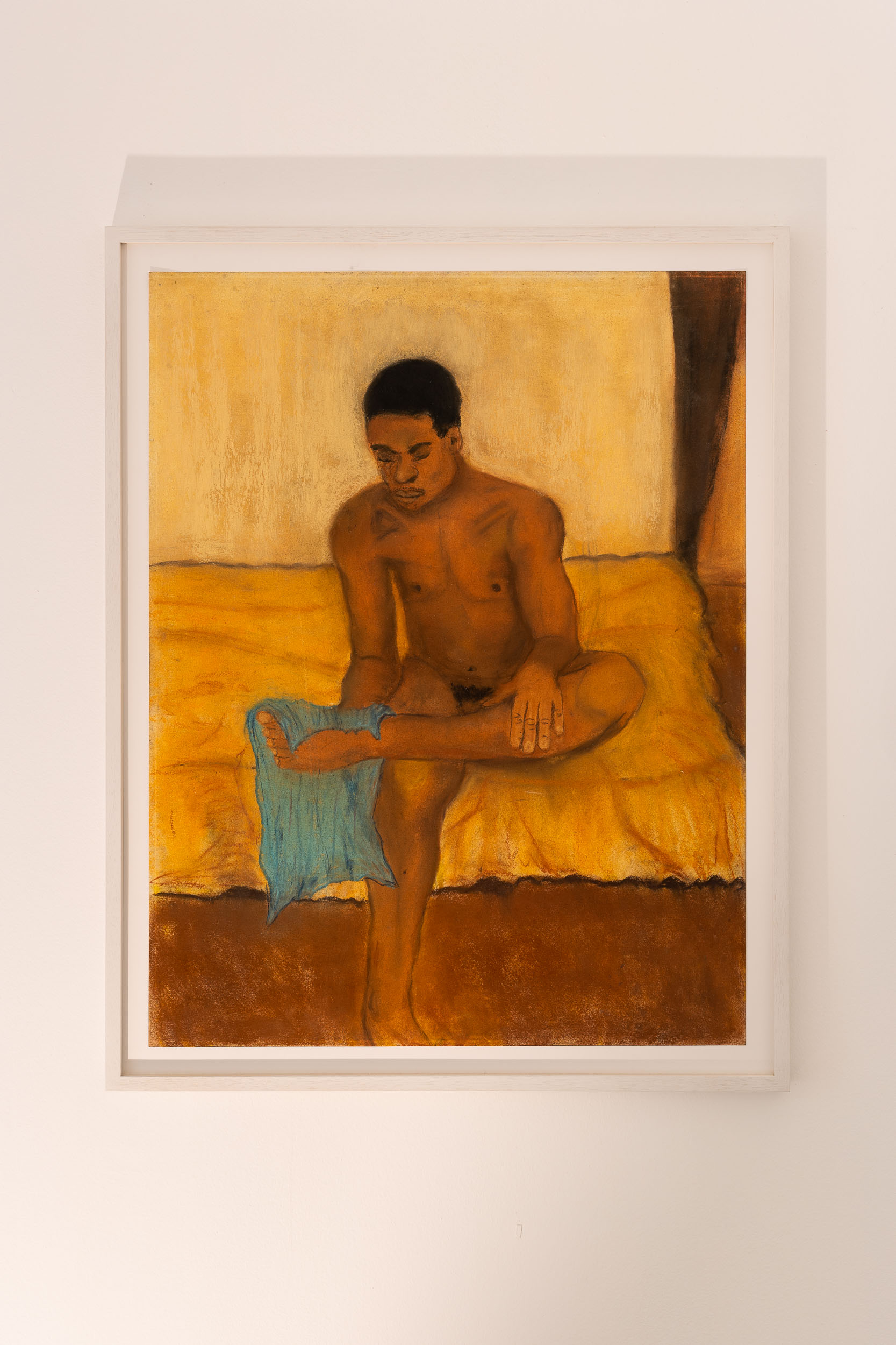 Dieter Hall,  Turquoise towel,  1999-2000, Pastel on paper, 64 x 50 cm / 72 x 57 cm (framed)  Photo: Kilian Bannwart