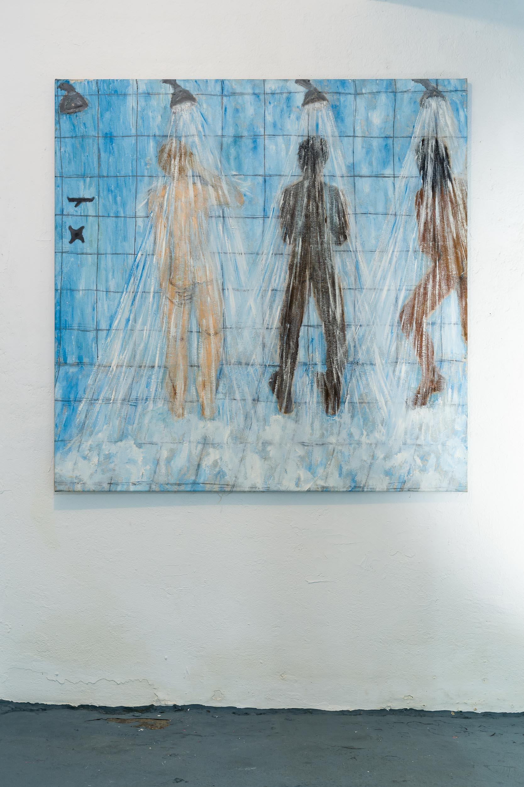 Dieter Hall,  3 men,  2006, Oil on canvas, 135 x 135 cm  Photo: Kilian Bannwart