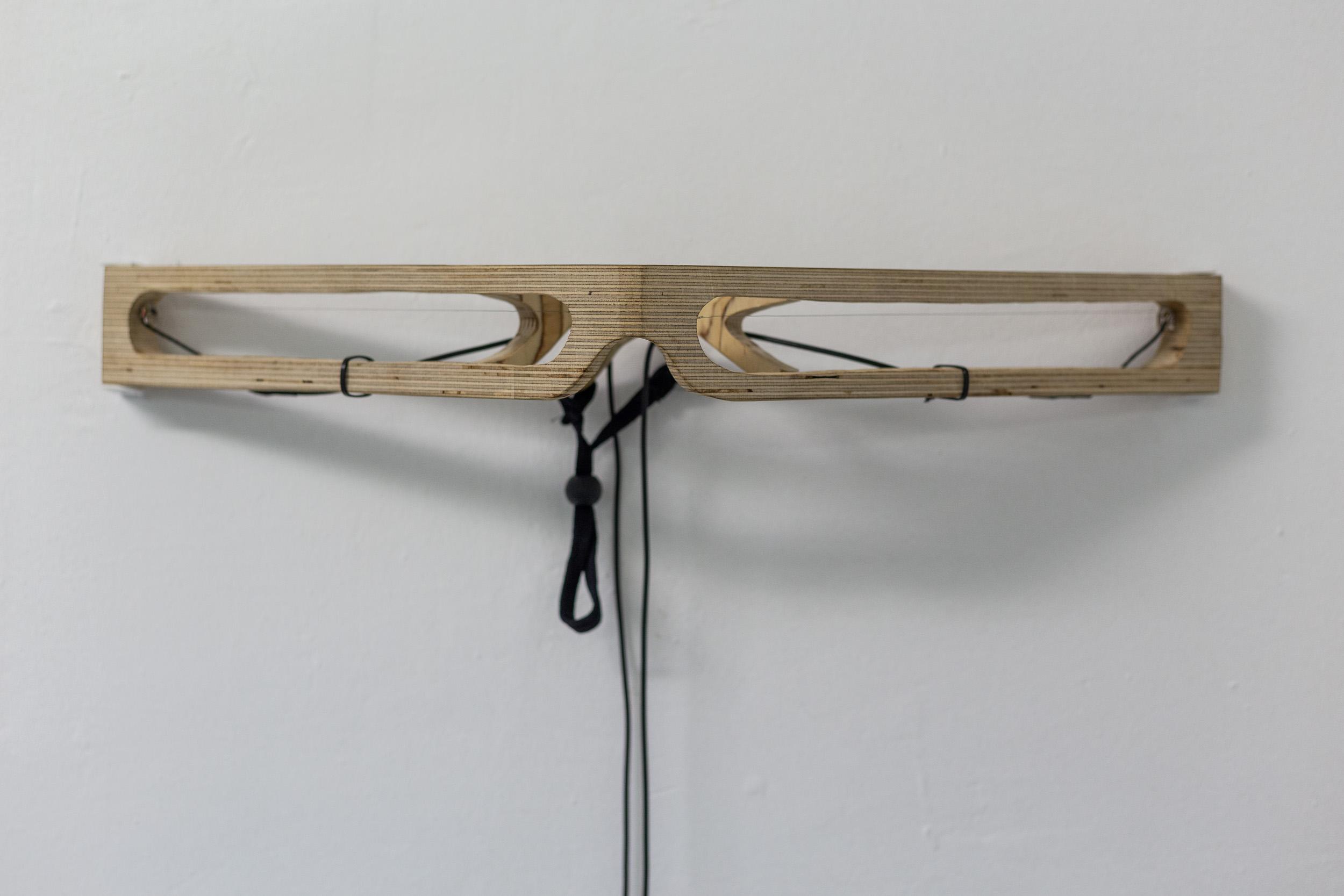 Aline Zeltner,  Sound Object , 2010, wood, chords, sound pick-up, loudspeaker, 52 x 6 x 2 cm  Photo: Kilian Bannwart