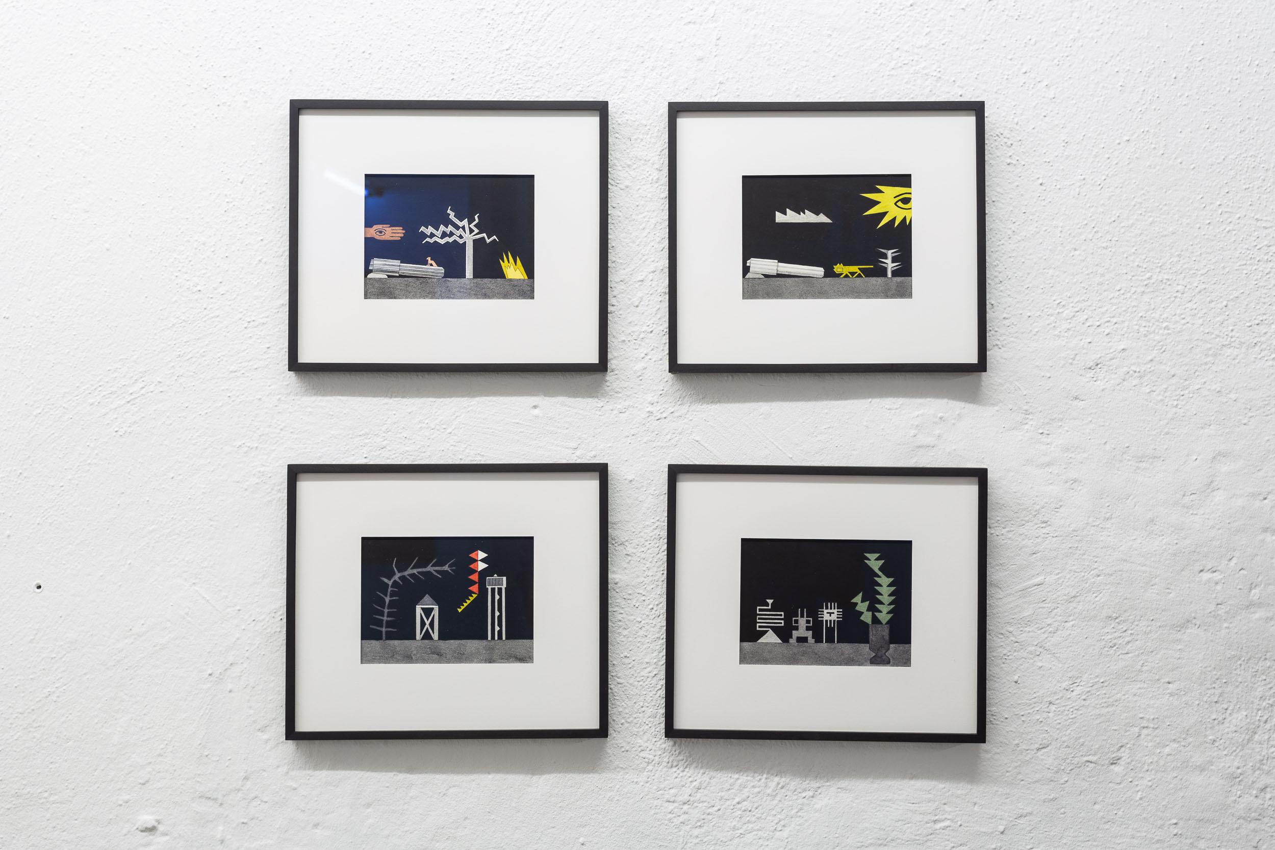 Patricia Bucher,  Untitled  (series), 2018, aquarelle and linoprint on paper, each 20.9 x 28.2 cm  Photo: Kilian Bannwart