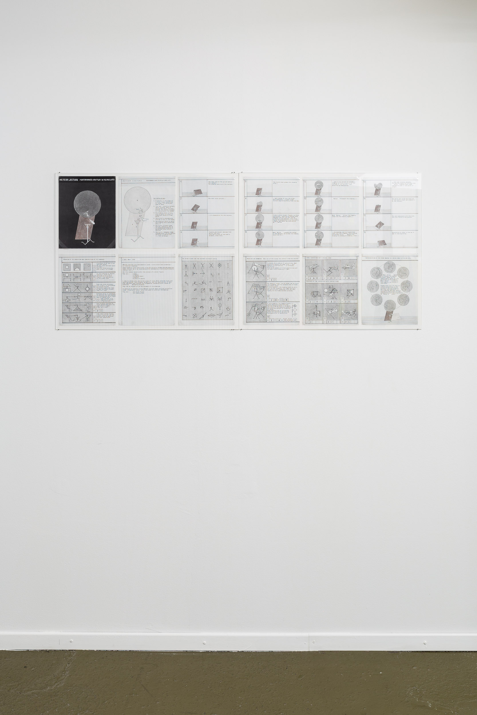 Klaus Lutz,  Meteor Lecture , Master copy of a performance script, ca. 1997/98, 12 pages, each 27.9 x 21.5 cm, Courtesy of the Estate of Klaus Lutz and Last Tango  Photo: Kilian Bannwart