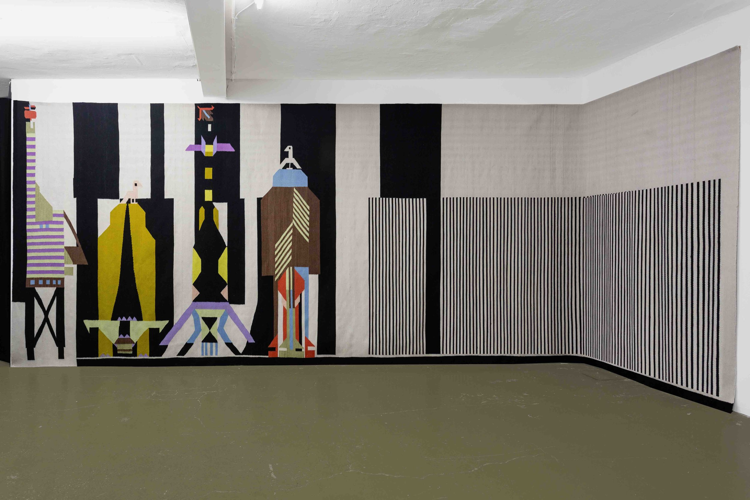 Patricia Bucher,  Untitled , 2013, kelim, woven wool, 245 x 660 cm  Photo: Kilian Bannwart