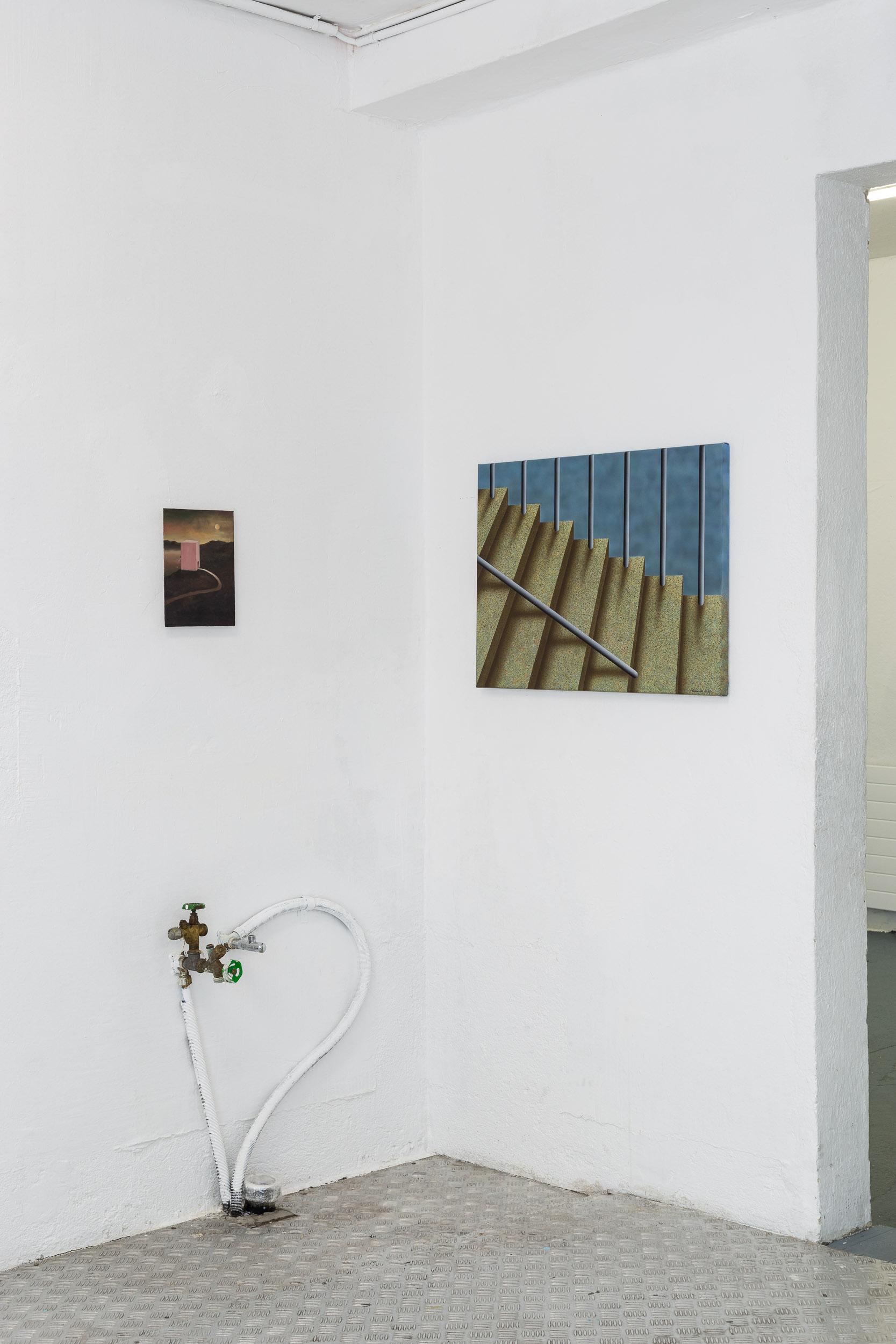 Left: Francisco Sierra,  NewExBolígrafo  (series), 2015-ongoing, oil on board, 24 x 18cm  Right: Eduardo Rubén,  Untitled , 2014, acrylic on canvas, 50 x 70 cm  Photo: Kilian Bannwart