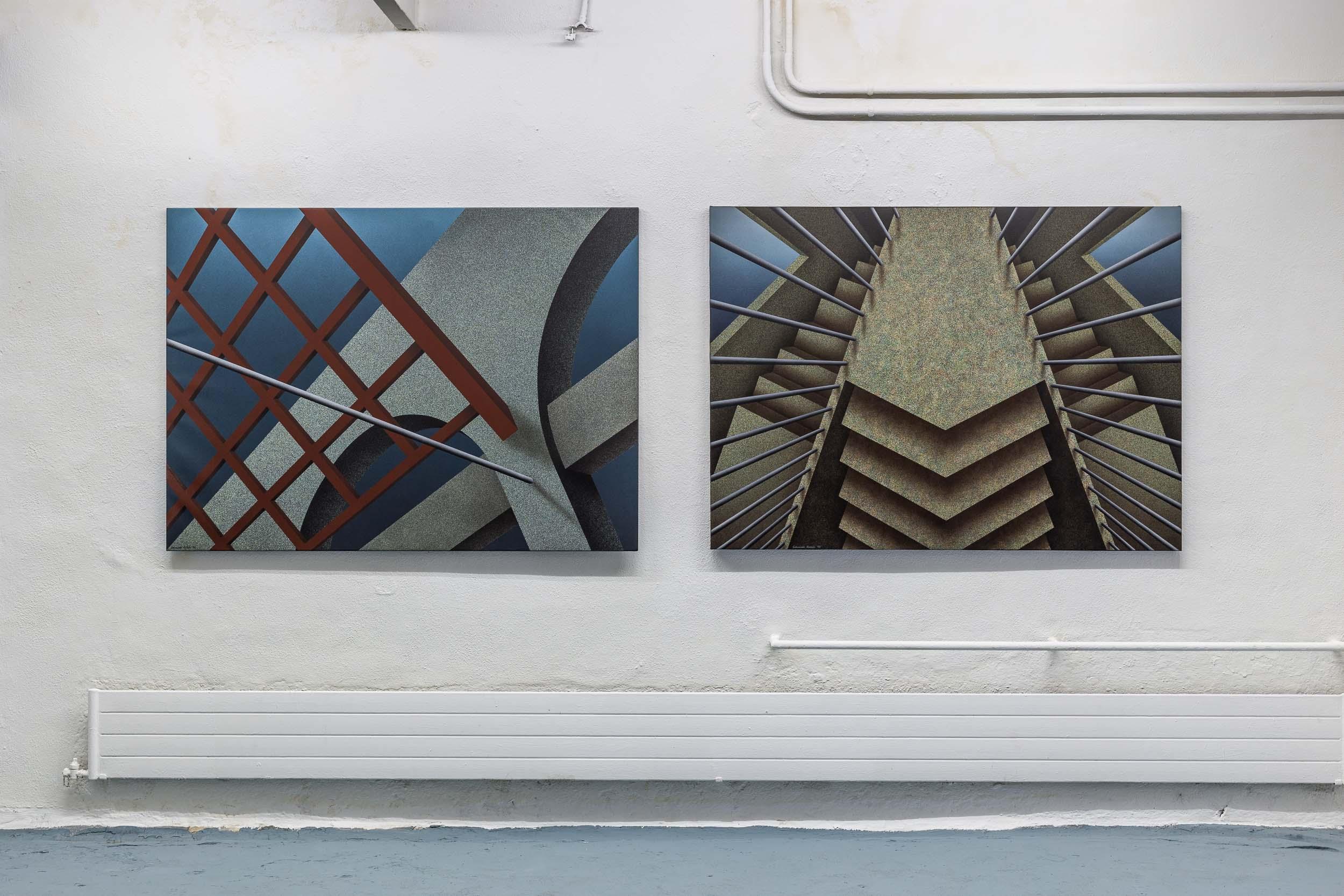 Left: Eduardo Rubén,  Untitled , 1994, acrylic on canvas, 109 x 149 cm  Right: Eduardo Rubén,  View from the Top 2 , 1993, acrylic on canvas, 109 x 149 cm  Photo: Kilian Bannwart