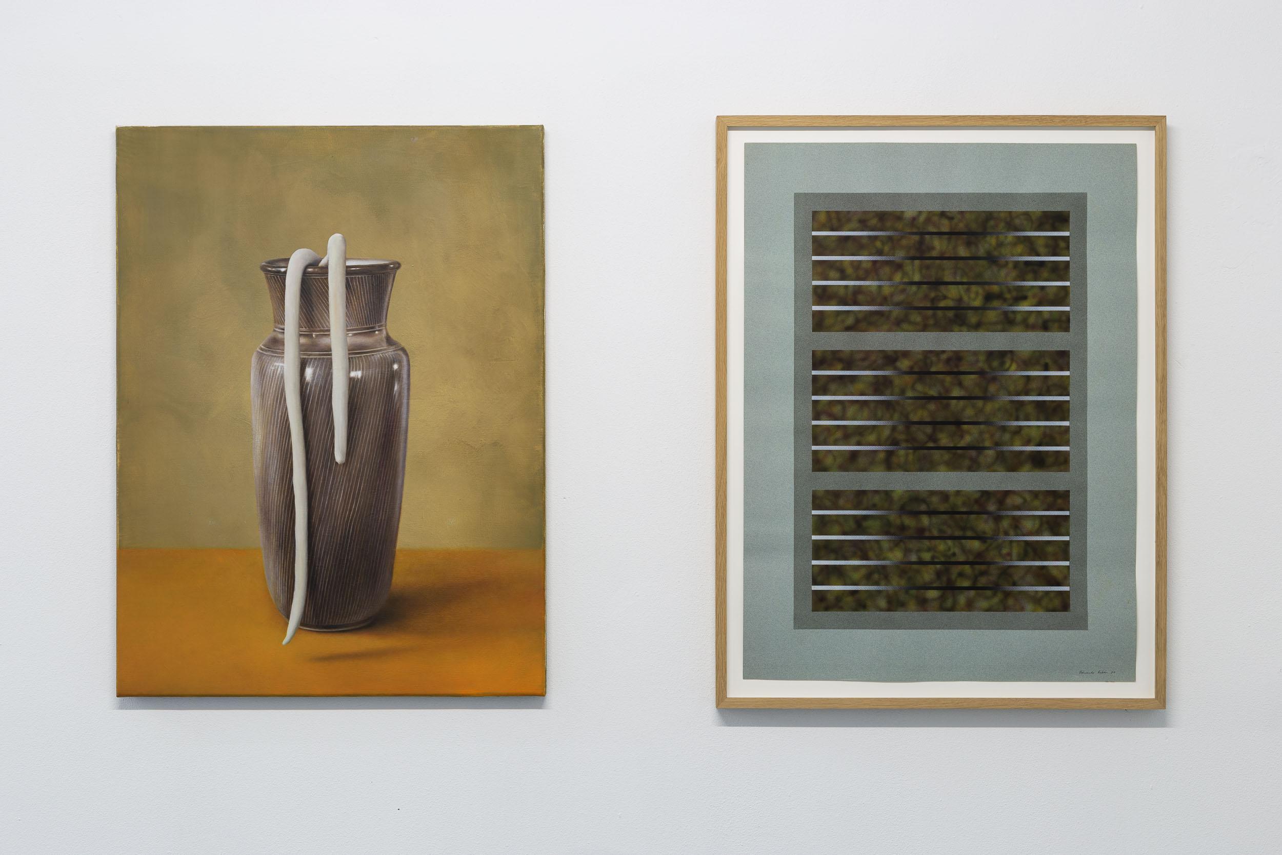 Left: Francisco Sierra,  Untitled , 2019, oil on canvas, 80 x 60 cm  Right: Eduardo Rubén,  Untitled  (from Windows series), 1987, acrylic on paper, 75 x 55 cm  Photo: Kilian Bannwart