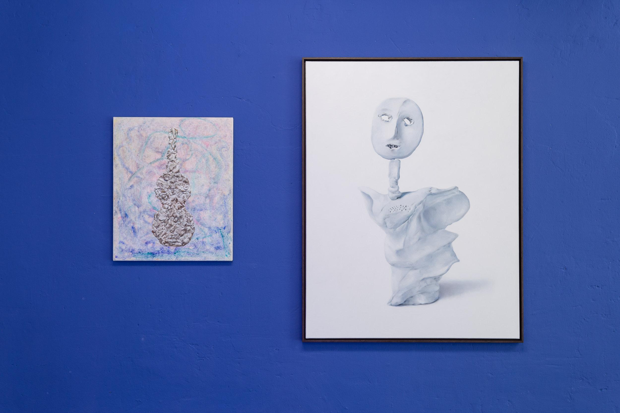 Left: Francisco Sierra,  Violino classic alle mandorle , 2016, oil on canvas, 60 x 50 cm  Right: Francisco Sierra,  Ålmos , 2016, oil on canvas  Photo: Kilian Bannwart