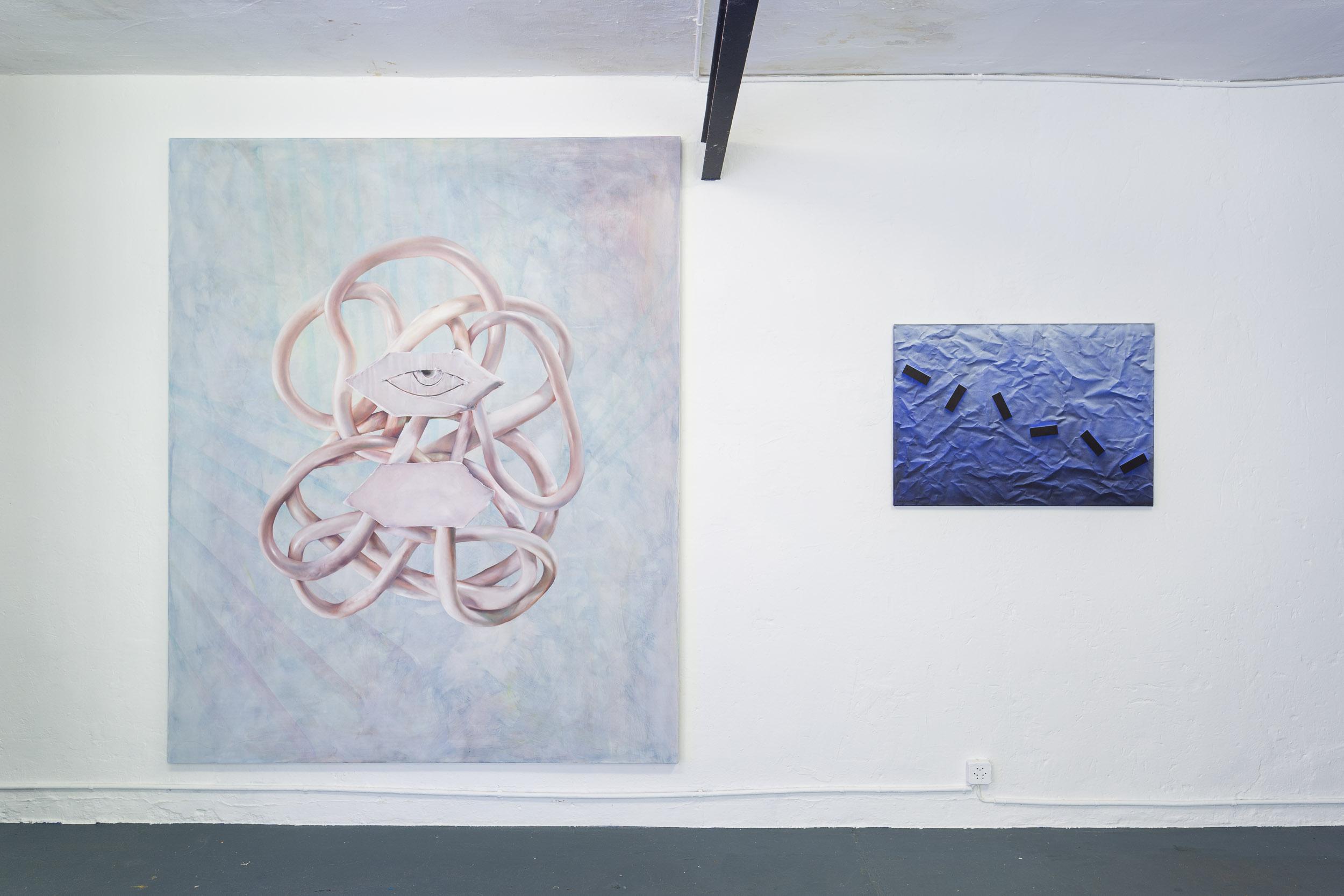 Left: Francisco Sierra,  OogGod , 2017, oil and color pencil on canvas, 220 x 180 cm  Right: Eduardo Rubén,  Untitled , 2011, acrylic on canvas, 64 x 91 cm  Photo: Kilian Bannwart