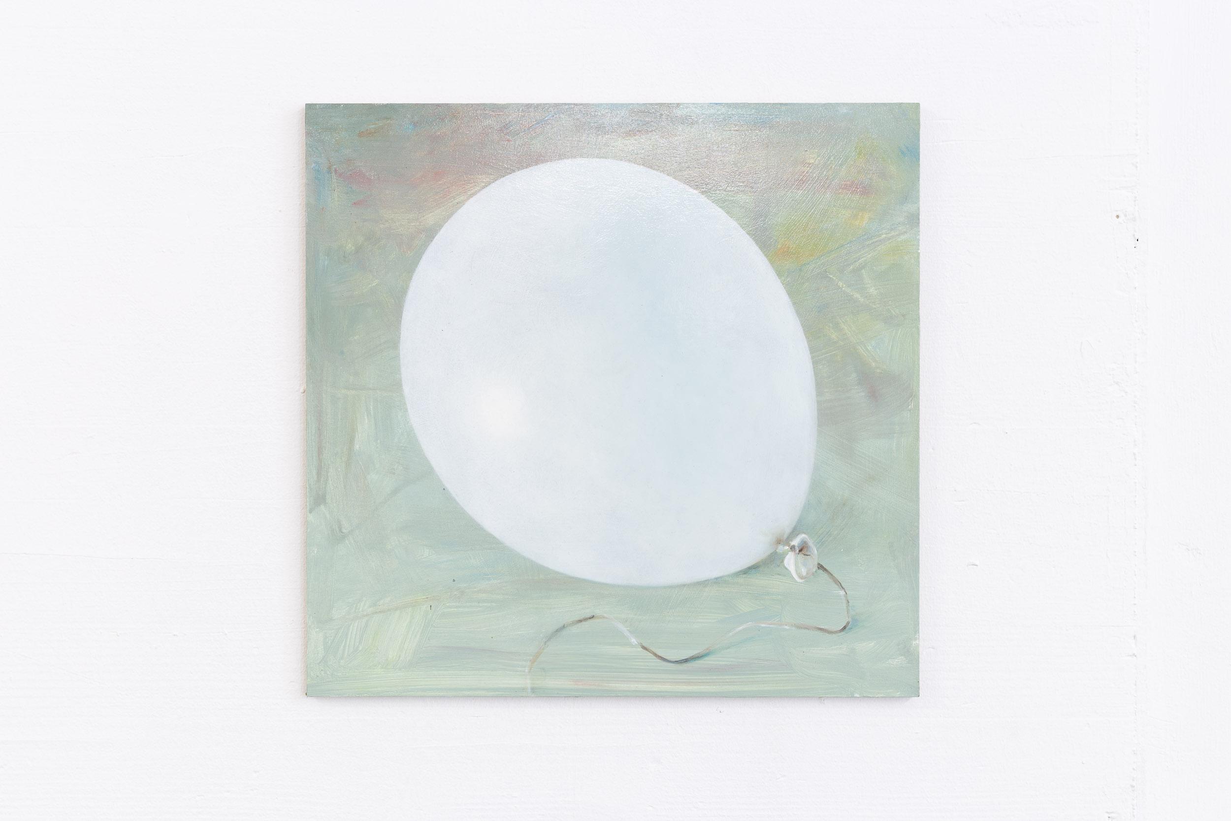 Francisco Sierra,  Untitled (White Baloon) , 2017, oil on wood, 44 x 45 cm  Photo: Kilian Bannwart