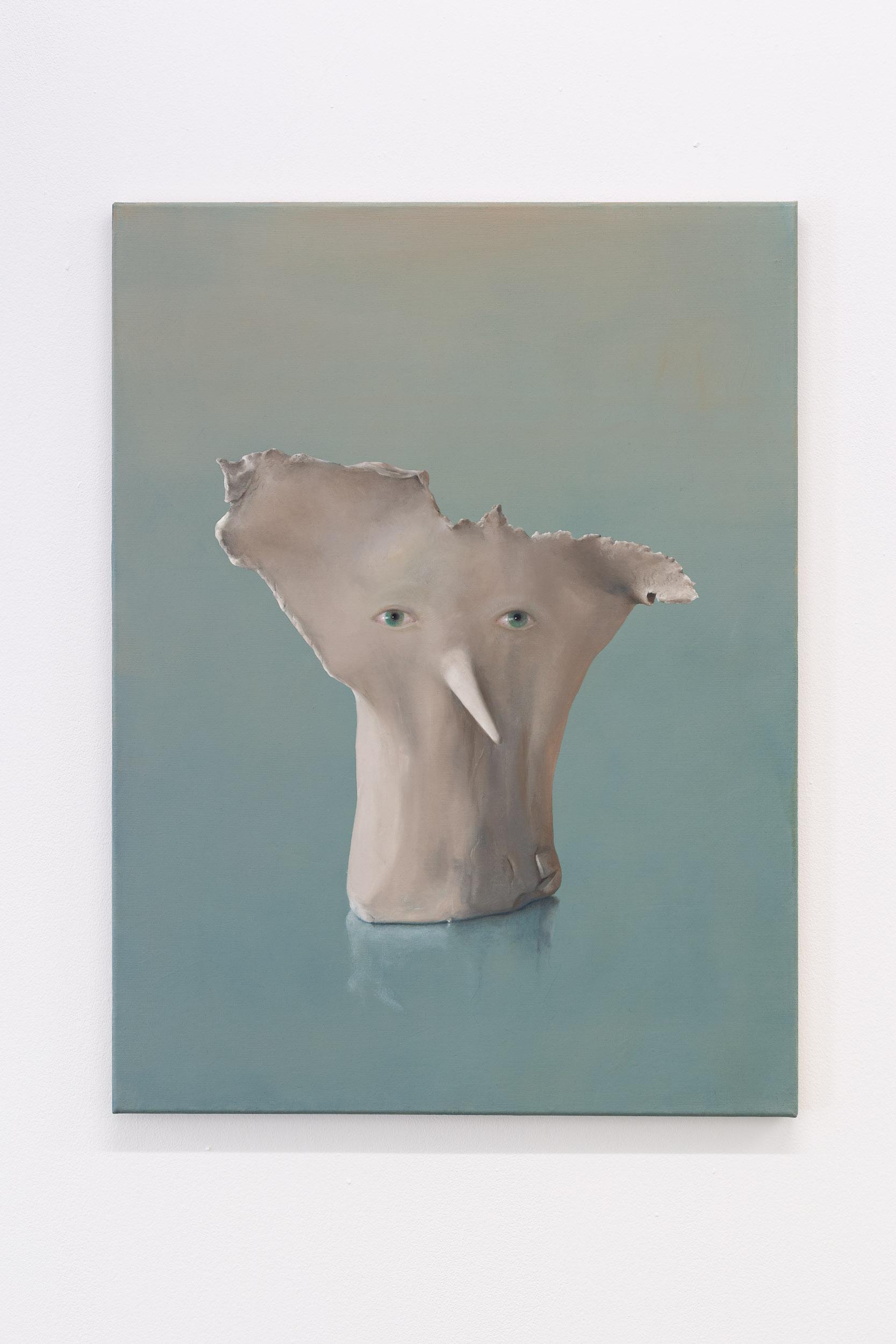 Francisco Sierra,  Untitled (Le Nez) , 2019, oil on wood, 80 x 60 cm  Photo: Kilian Bannwart