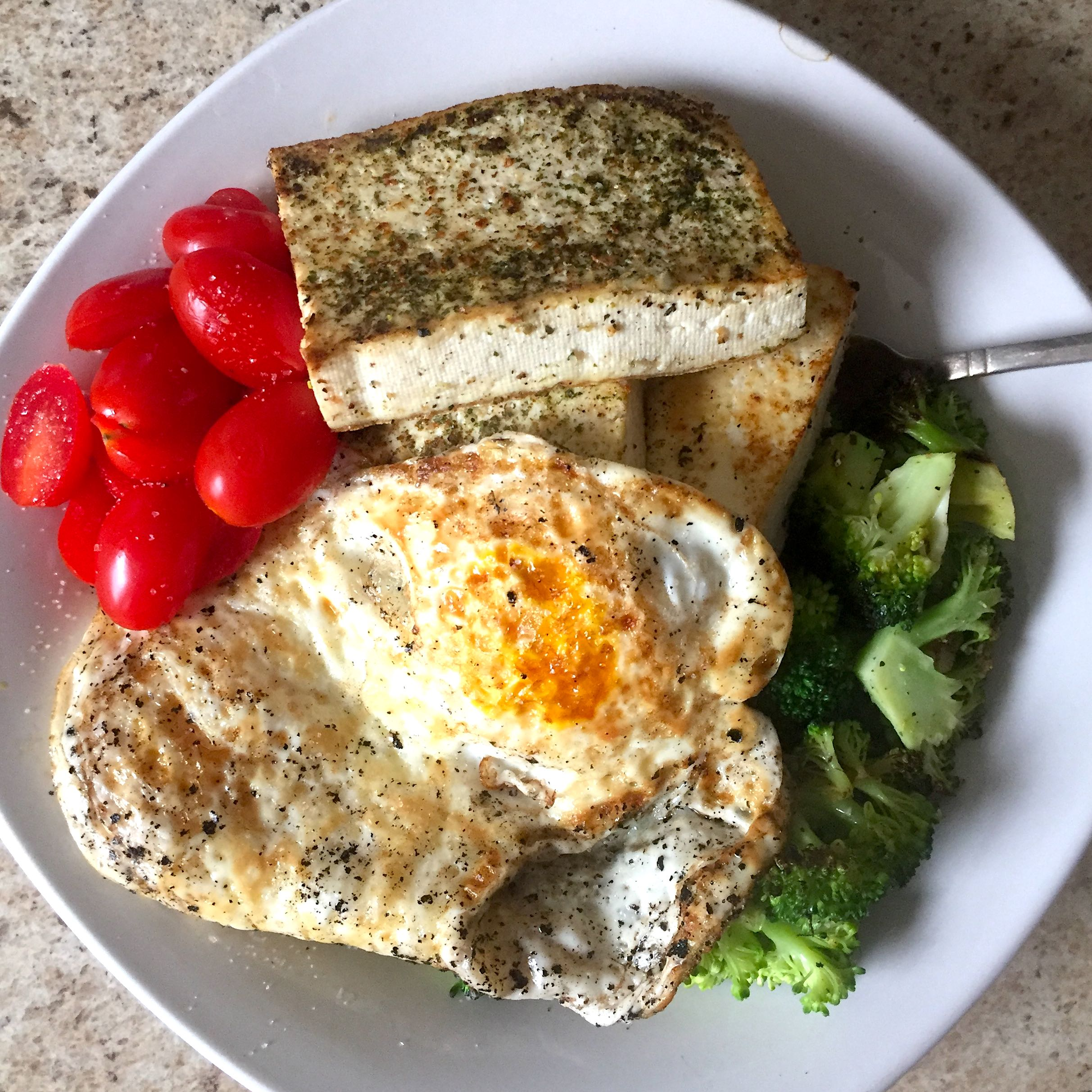 Simple Lunch of Eggs, Tofu, Broccoli, and Tomatoes