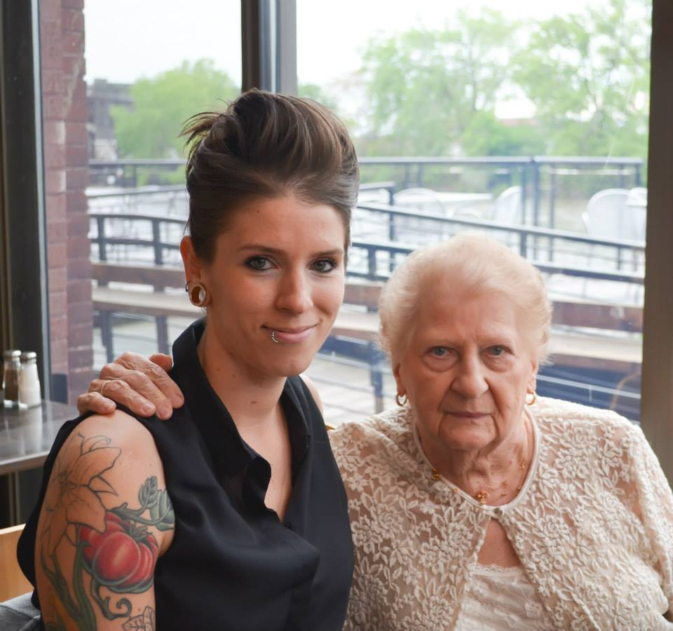 With my Grandmother at my wedding reception - May, 2015