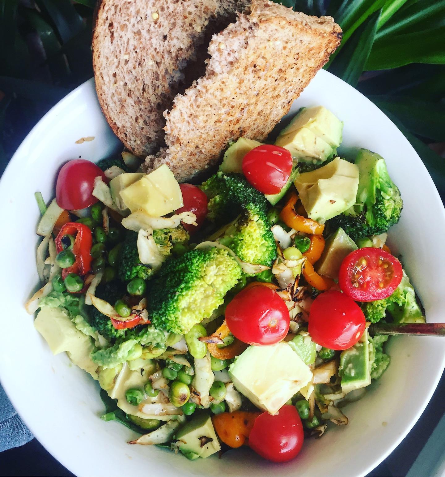 Big salads with nutrient dense vegetables