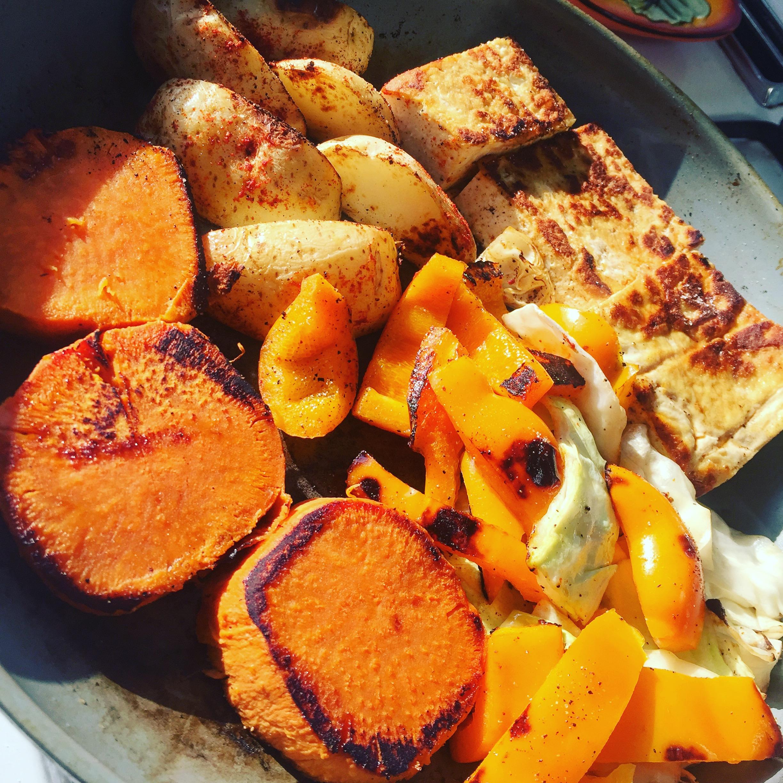 Big meal with root veggies and tofu