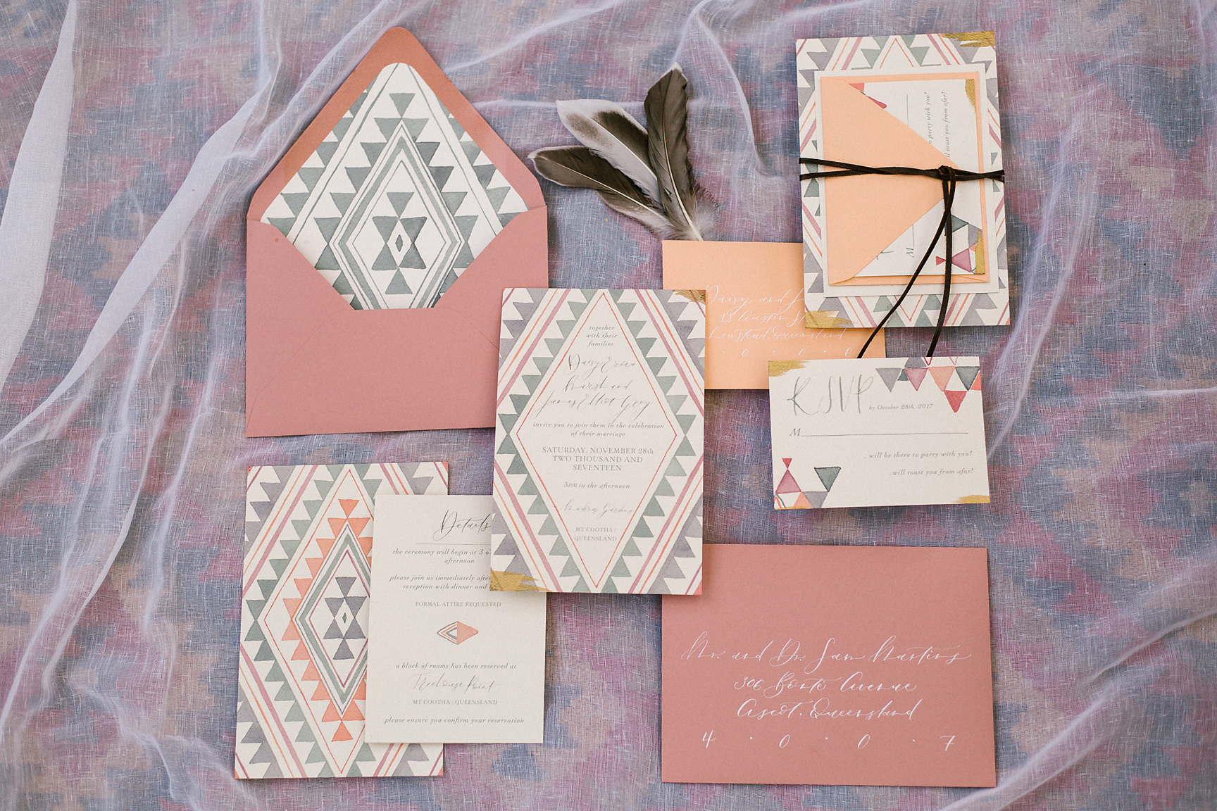 Stationery by Little Duck Calligraphy. Photography by Poppy & Sage Photography.