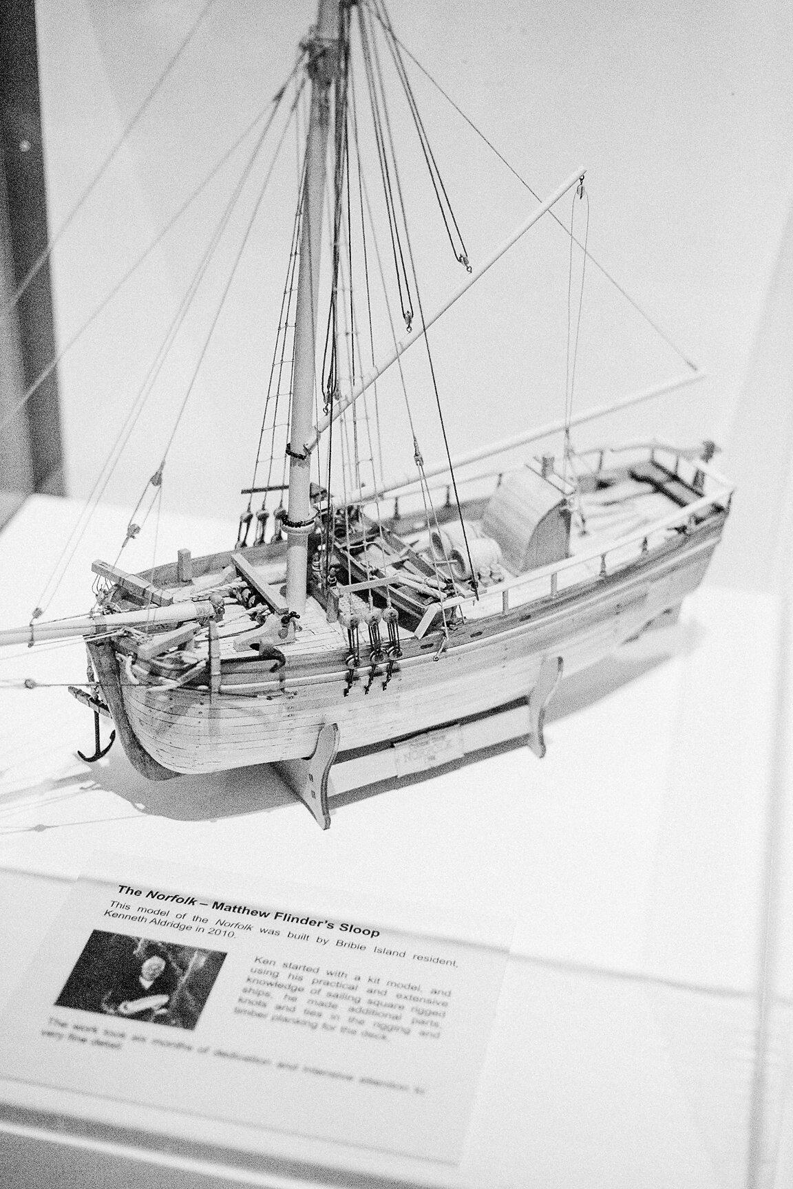 The Norfolk – Matthew Flinder's Sloop  This model of the  Norfolk  was built by Bribie Island resident, Kenneth Aldridge in 2010.