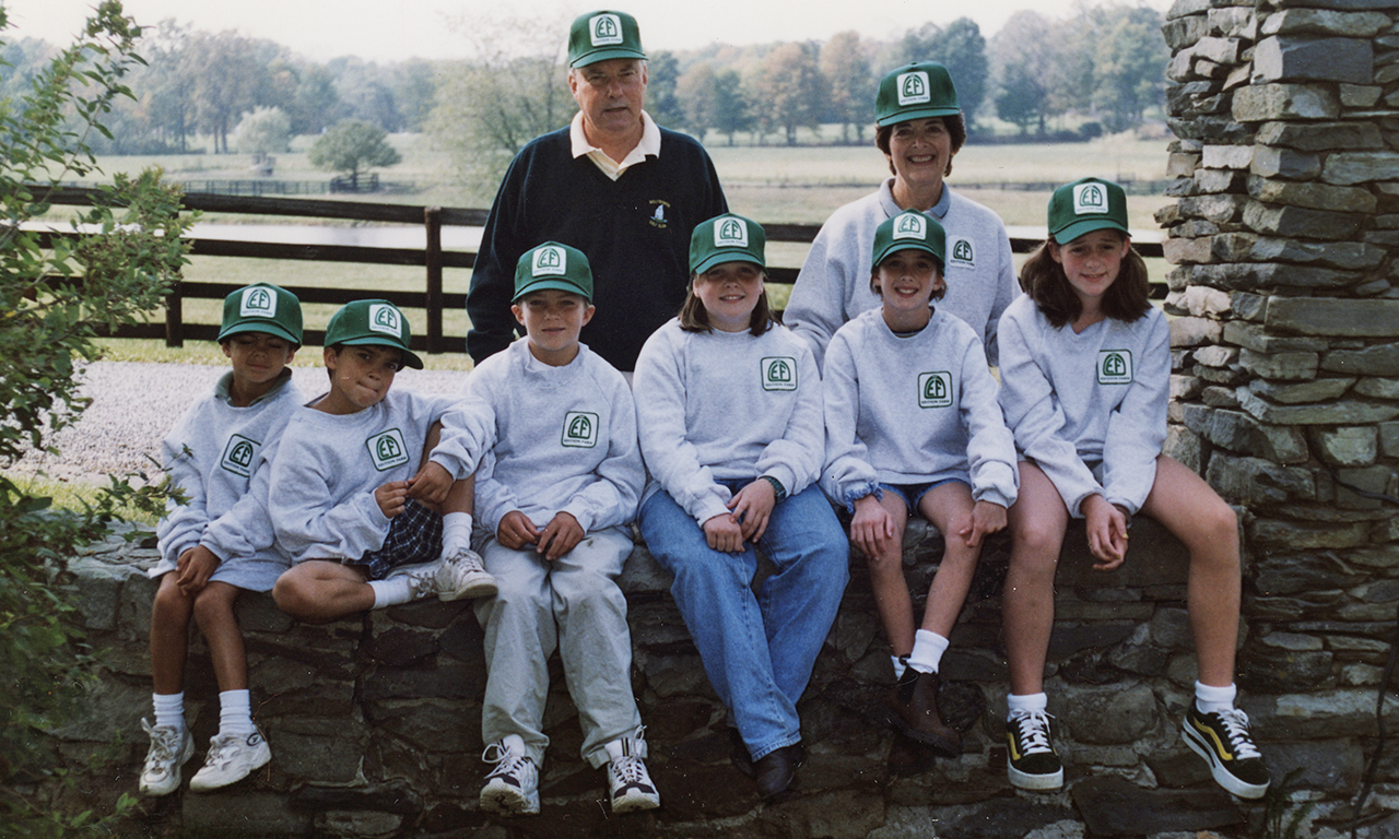 Harry and Vivien Malloy with their grandchildren 1998 - from left: Shane, Kenneth Jr., Conor, Caitlin, Maggie and Courtney