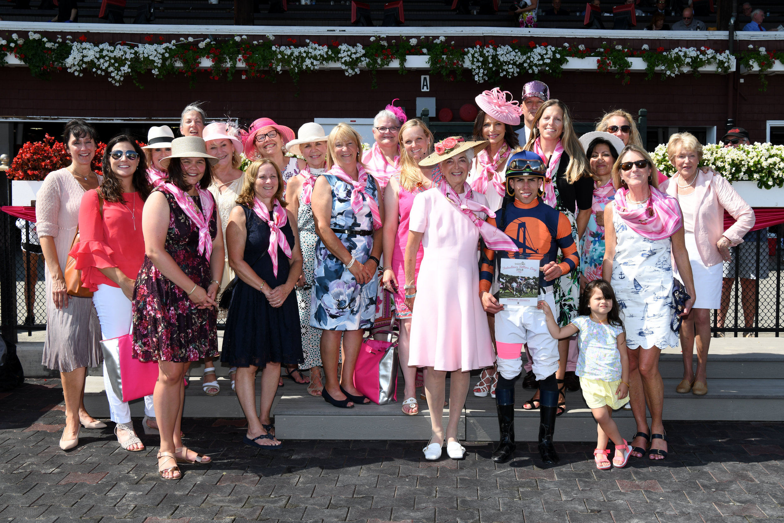 Vivien Malloy and Friends in the Winner's Circle at Saratoga Racetrack honoring her in Race 4 of Fabulous Fillies Day. Photo courtesy of Adam Coglianese
